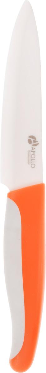 Нож кухонный Apollo Picar, керамический, цвет: оранжевый, белый, длина лезвия 13 см,PCR-06_оранжевыйНож Apollo Picar изготовлен из высококачественной циркониевой керамики - гигиеничного, экологически чистого материала. Нож имеет острое лезвие, не требующее дополнительной заточки. Эргономичная рукоятка выполнена из высококачественного пищевого пластика с резиновой вставкой. Она не скользит в руках и делает резку удобной и безопасной. Такой нож подойдет для нарезки любых овощей, мяса, рыбы и других продуктов. Керамика - это отличная альтернатива металлу. В отличие от стальных ножей, керамические ножи не переносят ионы металла в пищу, не разрушаются от кислот овощей и фруктов и никогда не заржавеют. Этот нож будет служить вам многие годы при соблюдении простых правил.Допускается мытье в горячей воде с моющими средствами. Ввиду хрупкости материала, используйте нож бережно.Общая длина ножа: 26 см.