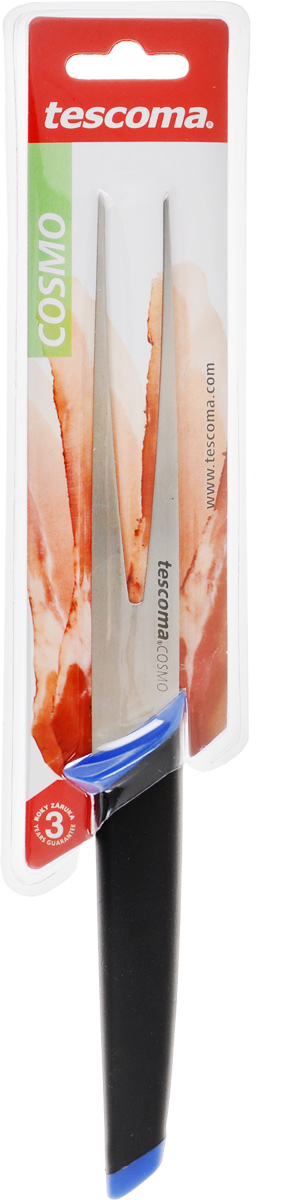 Вилка порционная Tescoma Cosmo, цвет: синий, черный, длина зубцов 14см863522_синийВилка порционная Tescoma Cosmo изготовлена из первоклассной нержавеющей стали. Зубцы имеют специальную форму для достижения максимального эффекта при использовании. Уникальная эргономичная ручка изготовлена из прорезиненного материала, который при увлажнении увеличивает сцепление с ладонью. Изделие пригодно для мытья в посудомоечной машине.Длина вилки: 26 см.Длина зубцов: 14 см.