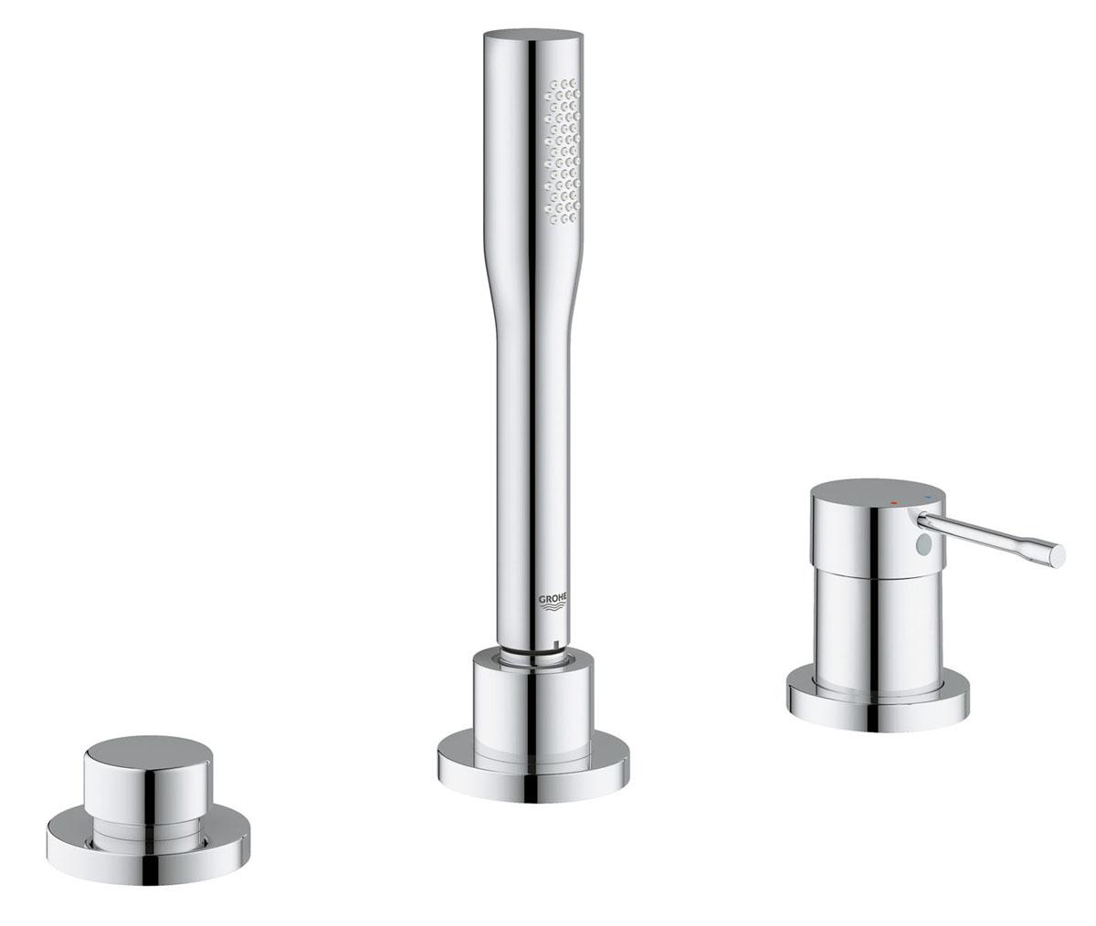 Смеситель для ванны Grohe Essence+, на 3 отверстия, с душевым гарнитуром19976001Смеситель для ванны Grohe Essence+ оснащен одной рукоятью для регулировки напора воды. Монтаж данной модели производиться на три отверстия. Для установки смесителя на бору ванны заранее вырезаются отверстия для установки. Модель монтируется на гайке, нижняя часть корпуса смесителя вставляется в отверстие для монтажа и с обратной стороны притягивается гайкой для фиксации. Выполнен в современном стиле, необычная модель с явно выраженным дизайнерским исполнением. Материал корпуса латунь - это надежный материал высокого качества, который обеспечивает идеальное нанесение хромированного покрытия. Модель традиционной округлой формы. Данная модель не оснащена изливом. Присоединительный размер 1/2. В комплекте инструкция по установке, гарантийный талон, душевой шланг, душевая лейка, держатель лейки, гибкая подводка.
