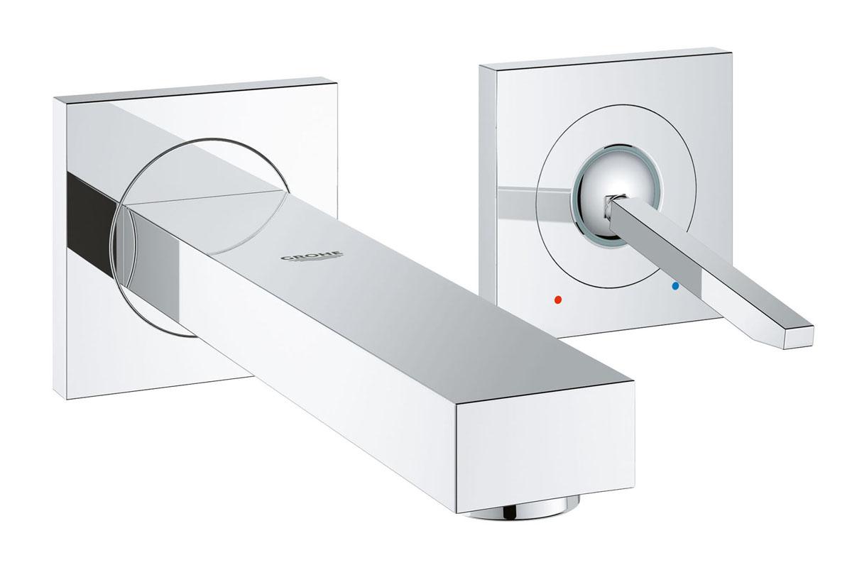 Смеситель для раковины Grohe Eurocube Joy, на 2 отверстия, высота излива 17 см19997000Смеситель для раковины Grohe Eurocube Joy настенного монтажа идеально подойдет для тех, кто любит сдержанный и современный дизайн ванной комнаты. Этот смеситель на два отверстия также содержит в себе уникальные технологии Grohe. Многослойное, устойчивое к царапинам хромовое покрытие StarLight® сохранит свой блеск на долгие годы. Регулируемый аэратор AquaGuide позволяет точнее направить поток воды, куда вы хотите, в зависимости от глубины и кривизны вашей раковины. Брызг больше не будет! Этот впечатляющий смеситель прекрасно дополняет другие продукты в коллекции, такие как однорычажный смеситель для биде Eurocube Joy.