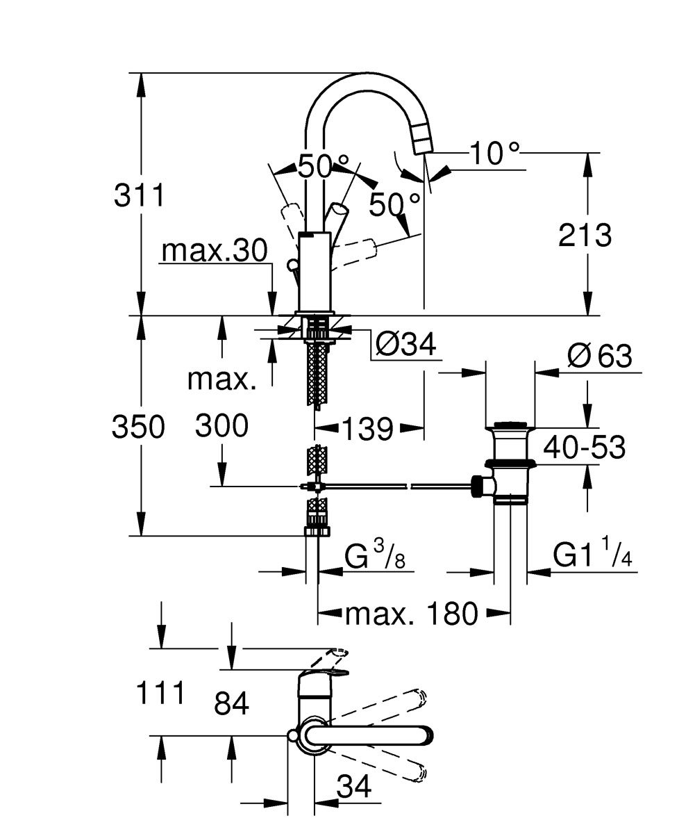 """Этот однорычажный смеситель Grohe """"Eurosmart New"""" с высоким изливом  позволит вам без затруднений мыть голову над раковиной. Технология SilkMove,  которая применяется в конструкции рычага, обеспечивает ему невероятную  плавность хода и легкость в управлении. Водосберегающий механизм EcoJoy  обеспечит экономию до 50% воды, обычно расходуемой через смеситель для  раковины. Встроенный подъемный шток позволит с легкостью открывать и  закрывать сливное отверстие. Этот сверкающий смеситель для раковины с  простым в уходе и долговечным хромированным покрытием StarLight позволит вам  модернизировать оснащение своей ванной комнаты. Система упрощенного  монтажа сделает процесс установки смесителя простым и понятным."""