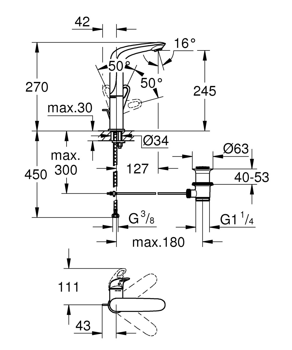 """Однорычажный смеситель для раковины Grohe """"Eurostyle New"""" с покрытием Moon White и с  увеличенной высотой для максимального комфорта станет идеальным штрихом для  современной ванной комнаты. Имеет интуитивно понятный дизайн рукоятки, а благодаря  технологии SilkMove® и стандартам немецкого проектирования, его рычаг перемещается плавно  и четко, обеспечивая идеальный контроль за расходом и температурой.  Аккуратный донный клапан и система быстрого монтажа являются дополнительным  преимуществом эксплуатации, а его гладкий дизайн станет точкой притяжения взглядов в вашей  ванной комнате. Возможность эко ответственного потребления предусмотрена благодаря  технологии EcoJoy® для снижения водопотребления, а увеличенная высота излива повышает  комфорт при мытье волос или наполнении высоких сосудов.  Этот смеситель для раковины легко сочетается с другими продуктами в той же дизайн-линии  для создания комплексного решения для ванной. Планируете ли вы семейную ванную или  элегантную гостевую ванную, смеситель Grohe """"Eurostyle New"""" станет идеальным решением по  очень привлекательной цене."""