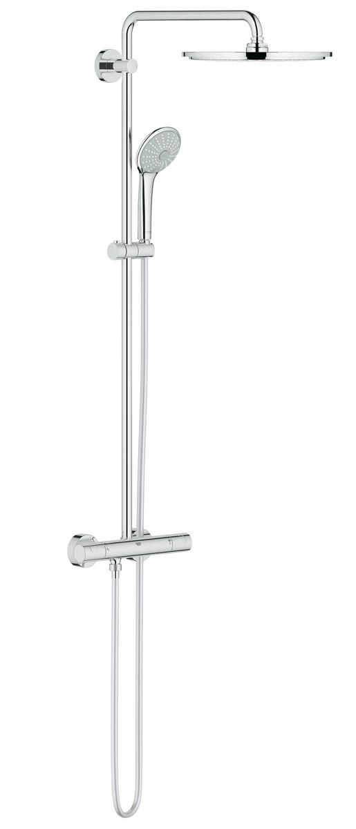 Система душевая Grohe Euphoria, с термостатом. 2607500026075000Душевая система Grohe Euphoria воплощает в себе стильную простоту и комфорт в использовании. Многофункциональная система состоит из верхнего душа, смесителя с термостатом и душа ручного. Верхний душ вмонтирован, выступающая часть удобно изогнута. Термостат позволяет автоматически поддержать заданную температуру воды, а также постоянного ее напора (расхода).Система удобна в работе, практична в использовании, позволяя разнообразить прием душевых процедур. Особенности:- Превосходный поток воды Grohe DreamSpray®;- Хромированная поверхность Grohe StarLight®;- Встроенный термоэлемент Grohe TurboStat® с системой SpeedClean против известковых отложений;- Внутренний охлаждающий канал для продолжительного срока службы;- Twistfree против перекручивания шланга;- Совместим с проточным водонагревателем от 18 kВ/ч;- Минимальное давление 1,0 бар.Диаметр ручного душа: 11 см. Диаметр верхнего душа: 31 см. Длина поворотного кронштейна: 45 см. Угол поворота кронштейна: ± 15°.Высота шланга: 175 см.