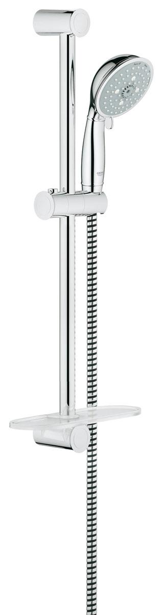 Душевой гарнитур Grohe Tempesta Rustic, с полочкой, 4 режима26086000Душевой комплект Grohe воплощает в себе стильную простоту и комфорт в использовании. Комплект состоит из ручного душа, душевой штанги (600 мм) и шланга (1750 мм), изготовленных из высококачественной латуни. Хромированное покрытие StarLight придает изделию яркий металлический блеск и эстетичный внешний вид. Душевой комплект Grohe удобен и практичен в работе.Особенности:- превосходный поток воды;- система SpeedClean против известковых отложений;- внутренний охлаждающий канал для продолжительного срока службы;- технология совершенного потока при уменьшенном расходе воды;- может использоваться с проточным водонагревателем.