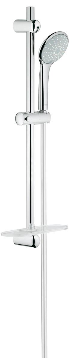 """Душевой комплект """"Grohe"""" воплощает в себе стильную  простоту и комфорт в использовании. Комплект состоит из ручного душа, душевой штанги  (600 мм) и шланга (1500 мм),  изготовленных из  высококачественной латуни. Хромированное покрытие StarLight придает  изделию яркий металлический блеск и эстетичный внешний вид. В комплекте предусмотрена  пластиковая полочка для банных принадлежностей. Душевой комплект """"Grohe"""" удобен и практичен в работе.  Особенности: - превосходный поток воды; - система SpeedClean против известковых отложений; - внутренний охлаждающий канал для продолжительного срока службы; - twistfree против перекручивания шланга."""