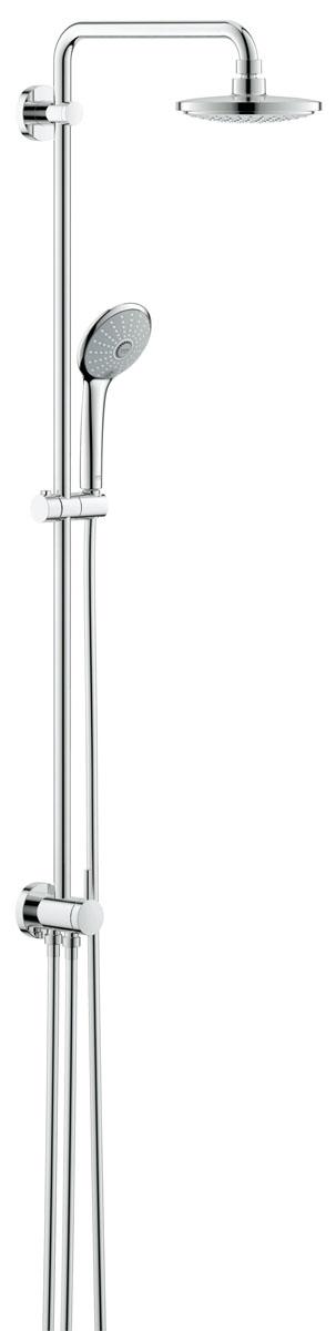 Система душевая Grohe Euphoria, с переключателем, верхний и ручной душ, без смесителя27297001Душевая система с переключателем Grohe Euphoria предназначена для настенного монтажа.Включает в себя:- Горизонтальный поворотный душевой;- Кронштейн 390 мм;- Переключатель с верхнего на ручной душ;- Верхний душ Euphoria Cosmopolitan (27492000 (Верхний душ GROHE Euphoria Cosmopolitan, 1 режим, диаметр 180 мм, с ограничением расхода воды, хром);- С режимом Rain;- С шаровым шарниром;- Угол поворота ± 15 град;- Ручной душ Euphoria 110 Massage (27239000 (Ручной душ GROHE Euphoria (3 режима) с ограничением расхода воды, хром);- Регулируется по высоте с помощью;- Скользящего элемента (12140000 (Скользящий элемент);- 9,5 л/мин ограничитель расхода воды;- Душевой шланг 1750 мм (28388000 (Душевой шланг GROHE Silverflex с защитой от перегибов, 1750 мм, хром);- Минимальный расход воды 7л/мин;- GROHE EcoJoy - технология совершенного потока при уменьшенном расходе воды;- GROHE DreamSpray превосходный поток воды;- GROHE StarLight хромированная поверхность;- С системой SpeedClean против известковых отложений;- Внутренний охлаждающий канал для продолжительного срока службы;- Совместим с проточным водонагревателем;- От 18 кВт/ч.