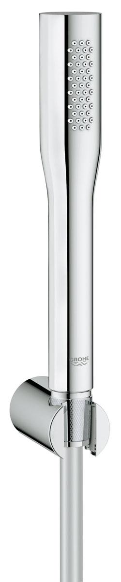 """Душевой набор Grohe """"Euphoria"""" воплощает в себе стильную простоту и комфорт в  использовании. Многофункциональная набор состоит из настенного держателя, шланга и душа  ручного. Он удобен в работе и практичен в использовании.  Особенности: - Хромированная поверхность GROHE StarLight®; - Ограничитель расхода воды; - Технология совершенного потока GROHE EcoJoy® при уменьшенном расходе воды с  системой SpeedClean против известковых отложений;  - Внутренний охлаждающий канал. Высота шланга: 150 см."""