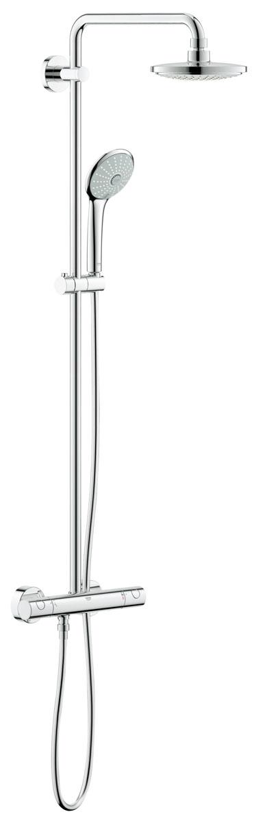 Система душевая Grohe Euphoria, с термостатом27420001Душевая система Grohe Euphoria воплощает в себе стильную простоту и комфорт в использовании. Многофункциональная система состоит из верхнего душа, смесителя с термостатом и душа ручного. Верхний душ вмонтирован, выступающая часть удобно изогнута. Термостат позволяет автоматически поддержать заданную температуру воды, а также постоянного ее напора (расхода).Система удобна в работе, практична в использовании, позволяя разнообразить прием душевых процедур. Особенности:- Превосходный поток воды Grohe DreamSpray®;- Хромированная поверхность Grohe StarLight®;- Встроенный термоэлемент Grohe TurboStat® с системой SpeedClean против известковых отложений;- Внутренний охлаждающий канал для продолжительного срока службы;- Twistfree против перекручивания шланга;- Совместим с проточным водонагревателем от 18 kВ/ч;- Минимальное давление 1,0 бар.Диаметр ручного душа: 11 см. Диаметр верхнего душа: 18 см. Длина поворотного кронштейна: 39 см. Угол поворота кронштейна: ± 15°.Высота шланга: 175 см.