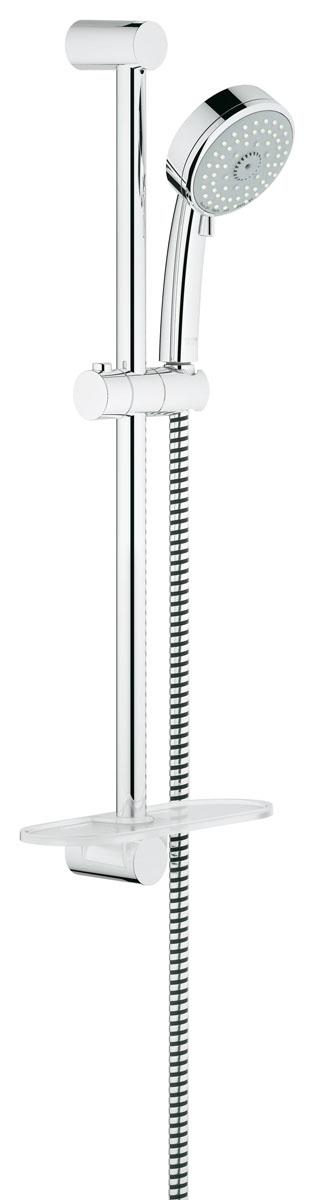 """Душевой комплект """"Grohe"""" воплощает в себе стильную  простоту и комфорт в использовании. Комплект состоит из ручного душа, душевой штанги (600 мм) и шланга (1750 мм),  изготовленных из  высококачественной латуни. Хромированное покрытие StarLight придает  изделию яркий металлический блеск и эстетичный внешний вид.  Душевой комплект """"Grohe"""" удобен и практичен в работе.  Особенности: - превосходный поток воды; - система SpeedClean против известковых отложений; - внутренний охлаждающий канал для продолжительного срока службы; - технология совершенного потока при уменьшенном расходе воды; - может использоваться с проточным  водонагревателем."""