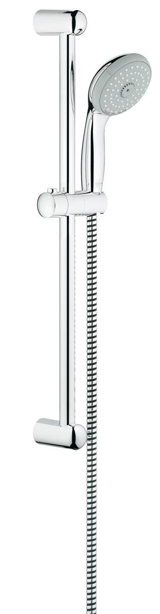 Душевой гарнитур Grohe Tempesta Classic. 2764400027644000Душевой комплект Grohe воплощает в себе стильную простоту и комфорт в использовании. Комплект состоит из ручного душа, душевой штанги (600 мм) и шланга (1750 мм), изготовленных из высококачественной латуни. Хромированное покрытие StarLight придает изделию яркий металлический блеск и эстетичный внешний вид. Душевой комплект Grohe удобен и практичен в работе.Особенности:- превосходный поток воды;- система SpeedClean против известковых отложений;- внутренний охлаждающий канал для продолжительного срока службы;- технология совершенного потока при уменьшенном расходе воды;- силиконовое кольцо, предотвращающее повреждение поверхности при падении ручного душа. Может использоваться с проточным водонагревателем.