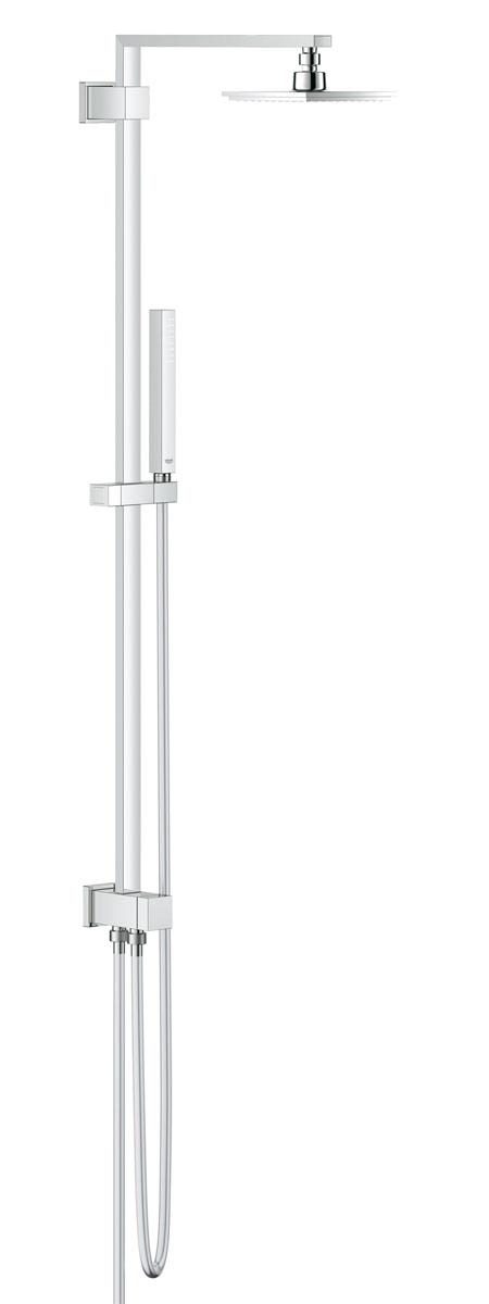 """Душевая система с переключателем Grohe """"Euphoria Cube""""  предназначена для настенного монтажа. Включает в себя: - Душевой кронштейн: вынос 400 мм; - Переключатель с верхнего на ручной душ; - Верхний душ Euphoria Cube: 1 вид струи, 152 мм x 152 мм, с шаровым шарниром угол поворота ±  20°; - Ручной душ Euphoria Cube 27 698 000: 1 вид струи, GROHE DreamSpray® превосходный поток  воды, GROHE StarLight® хромированная поверхность с системой GROHE SpeedClean® против  известковых отложений, внутренний охлаждающий канал для продолжительного срока службы,  регулируется по высоте с помощью скользящего элемента; - Подача воды через металлический душевой шланг 1/2"""", для подсоединения к смесителю или  выводу из стены; - Душевой шланг Silverflex 28 388 000: 1750 мм, GROHE Twistfree® против перекручивания шланга; - Минимальный расход воды 7л/мин; - Совместим с проточным водонагревателем от 18 kВ/ч."""