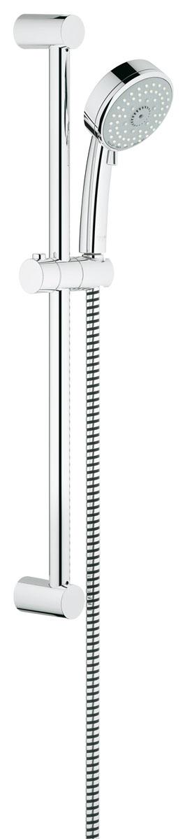 Душевой гарнитур Grohe Tempesta Cosmopolitan. 2778700127787001Душевой комплект Grohe воплощает в себе стильную простоту и комфорт в использовании. Комплект состоит из ручного душа, душевой штанги (600 мм) и шланга (1750 мм), изготовленных из высококачественной латуни. Хромированное покрытие StarLight придает изделию яркий металлический блеск и эстетичный внешний вид. Душевой комплект Grohe удобен и практичен в работе.Особенности:- превосходный поток воды;- система SpeedClean против известковых отложений;- внутренний охлаждающий канал для продолжительного срока службы;- может использоваться с проточным водонагревателем.