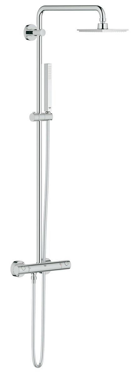 Душевая система с термостатом GROHE Euphoria Cube (27932000)27932000включает в себя:горизонтальный поворотный душевой кронштейн 450 мм настенный термостат с аквадиммеромвыбор между:Верхний душ Euphoria Cube 150 (27 705 000)с режимом Rainс шаровым шарниромугол поворота ± 12°ручной душ Euphoria Cube Stick (27 698 000)регулируется по высоте с помощью скользящего элементадушевой шланг 1750 мм (28 388 000)минимальный расход воды 7л/минGROHE EcoJoy® ограничитель расхода воды 9,5 л/мин GROHE DreamSpray® превосходный поток водыGROHE StarLight® хромированная поверхность GROHE TurboStat® встроенный термоэлементс системой SpeedClean против известковых отложенийВнутренний охлаждающий канал для продолжительного срока службыTwistfree против перекручивания шлангасовместим с проточным водонагревателем от 18 kВ/чминимальное давление 1,0 бар