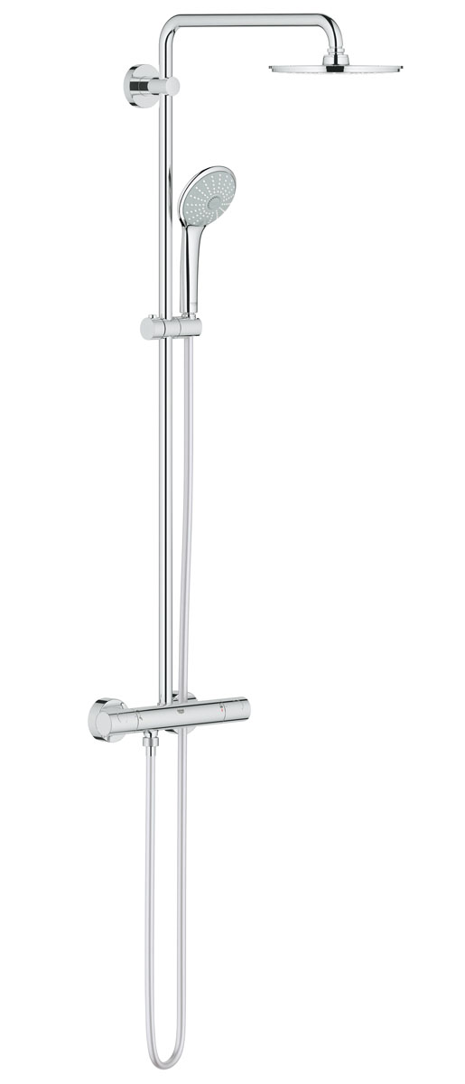 Система душевая Grohe Euphoria, с термостатом. 2796400027964000Душевая система Grohe Euphoria воплощает в себе стильную простоту и комфорт в использовании. Многофункциональная система состоит из верхнего душа, смесителя с термостатом и душа ручного. Верхний душ вмонтирован, выступающая часть удобно изогнута. Термостат позволяет автоматически поддержать заданную температуру воды, а также постоянного ее напора (расхода).Система удобна в работе, практична в использовании, позволяя разнообразить прием душевых процедур. Особенности:- Превосходный поток воды Grohe DreamSpray®;- Хромированная поверхность Grohe StarLight®;- Встроенный термоэлемент Grohe TurboStat® с системой SpeedClean против известковых отложений;- Внутренний охлаждающий канал для продолжительного срока службы;- Twistfree против перекручивания шланга;- Совместим с проточным водонагревателем от 18 kВ/ч;- Минимальное давление 1,0 бар.Диаметр ручного душа: 11 см. Диаметр верхнего душа: 21 см. Длина поворотного кронштейна: 45 см. Угол поворота кронштейна: ± 15°.Высота шланга: 175 см.