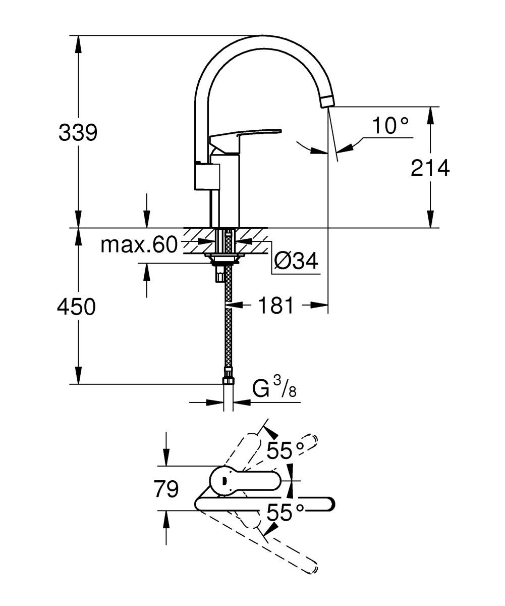 """Уникальное дизайнерское решение для ванной комнаты представляют собой смеситель Grohe  """"Cosmopolitan. DN 15"""" с рычагами необычной формы. В конструкции сочетаются простые изгибы и  обтекаемые  формы. Его строгая красота подчеркивается ярким блеском хромированного покрытия Grohe  StarLight, отталкивающего грязь и устойчивого к истиранию. Технология Grohe SilkMove позволяет  управлять рычагом, регулируя напор и температуру воды, одним лишь кончиком пальца. И все это  – при непревзойденном соотношении цены и рабочих характеристик. Кухонный смеситель Grohe """"Cosmopolitan. DN 15"""" подвергается основательным испытаниям на  долговечность, имитирующим условия многолетней ежедневной эксплуатации.  Он  имеет один вид струи – нормальную, и излив с ограничением поворота 110 градусов."""