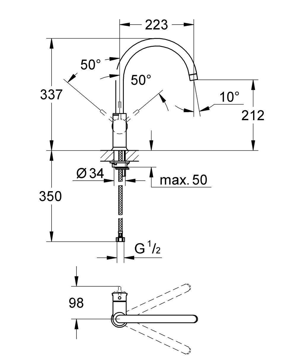 """Смеситель однорычажный Grohe """"BauClassic"""" для мойки, выполненный из латуни,  предназначен для установки на мойку. Особенности: - монтаж на одно отверстие; - металлический рычаг; - керамический картридж; - поворотный трубкообразный излив; - аэратор; - гибкая подводка; - система быстрого монтажа. Керамический картридж: 28 мм."""
