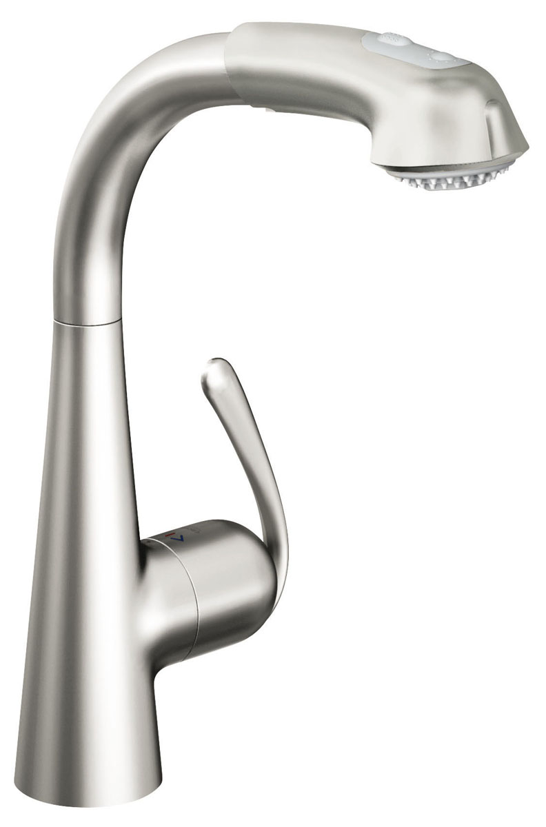 Смеситель для кухни Grohe Zedra, с выдвижным изливом, цвет: нержавеющая сталь. 32553SD0 смеситель для кухни kludi l ine с выдвижным изливом 428210577