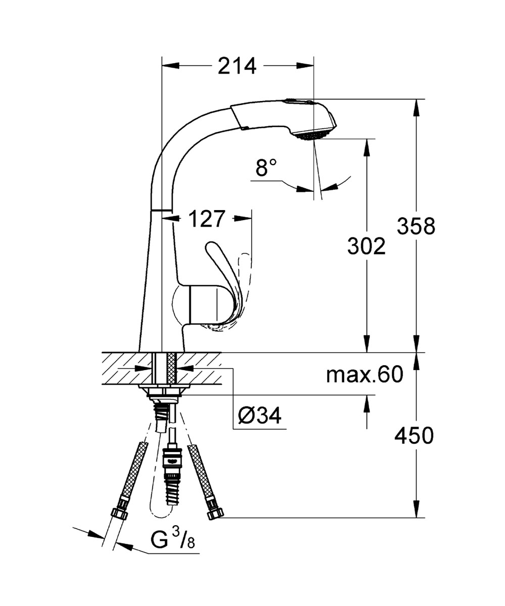"""Смеситель для кухни Grohe """"Zedra"""", с выдвижным изливом имеет поворотный трубкообразный излив, радиус поворота 360°, регулировка расхода воды, выдвижная лейка с возвратной пружиной, встроенный обратный клапан, автоматический переключатель, душевая струя, автоматическое возвратное переключение на аэратор после выключения, гибкая подводка, система быстрого монтажа, с защитой от обратного потока. Керамический картридж - 46 мм. Аксессуар впишется в любой интерьер благодаря стильному внешнему виду."""