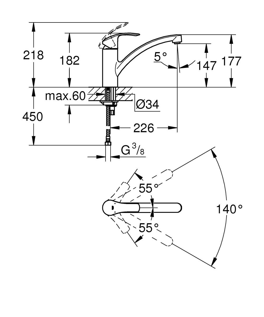 """Смеситель для кухни Grohe """"Eurosmart New"""" имеет хромированное покрытие  StarLight, которое придает ему эффектный блеск  и неприхотливость в уходе. В числе его функциональных преимуществ также  стоит  упомянуть технологию EcoJoy, ограничивающую расход воды до 5,7 литра  в минуту даже при максимальном напоре. Плавность и легкость регулировки  температуры и напора воды обеспечивает картридж с технологией SilkMove.  Система раздельных внутренних протоков предохраняет питьевую воду от  загрязнения. Излив вращается в радиусе 140°, обеспечивая необходимую свободу  действий и при этом не задевая окружающих стен и шкафов, что особенно  актуально  для кухонь небольшой площади. Встроенный ограничитель температуры и  эргономичный рычаг завершают собой идеальный набор достоинств данного  смесителя."""