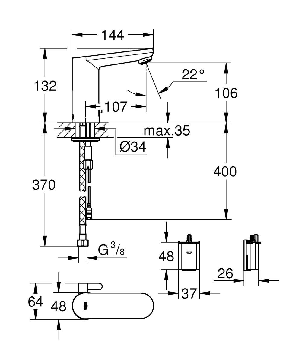 """Смеситель для раковины Grohe """"Eurosmart Cosmopolitan E"""" с инфракрасным датчиком отвечает  современным требованиям безопасности и удобства использования. Обратный клапан и  грязеулавливающие фильтры обеспечат чистый поток воды.  Одной батарейки хватает на 150 включений в день, что приблизительно составляет 7 лет  эксплуатации. Система быстрого монтажа облегчает установку смесителя."""