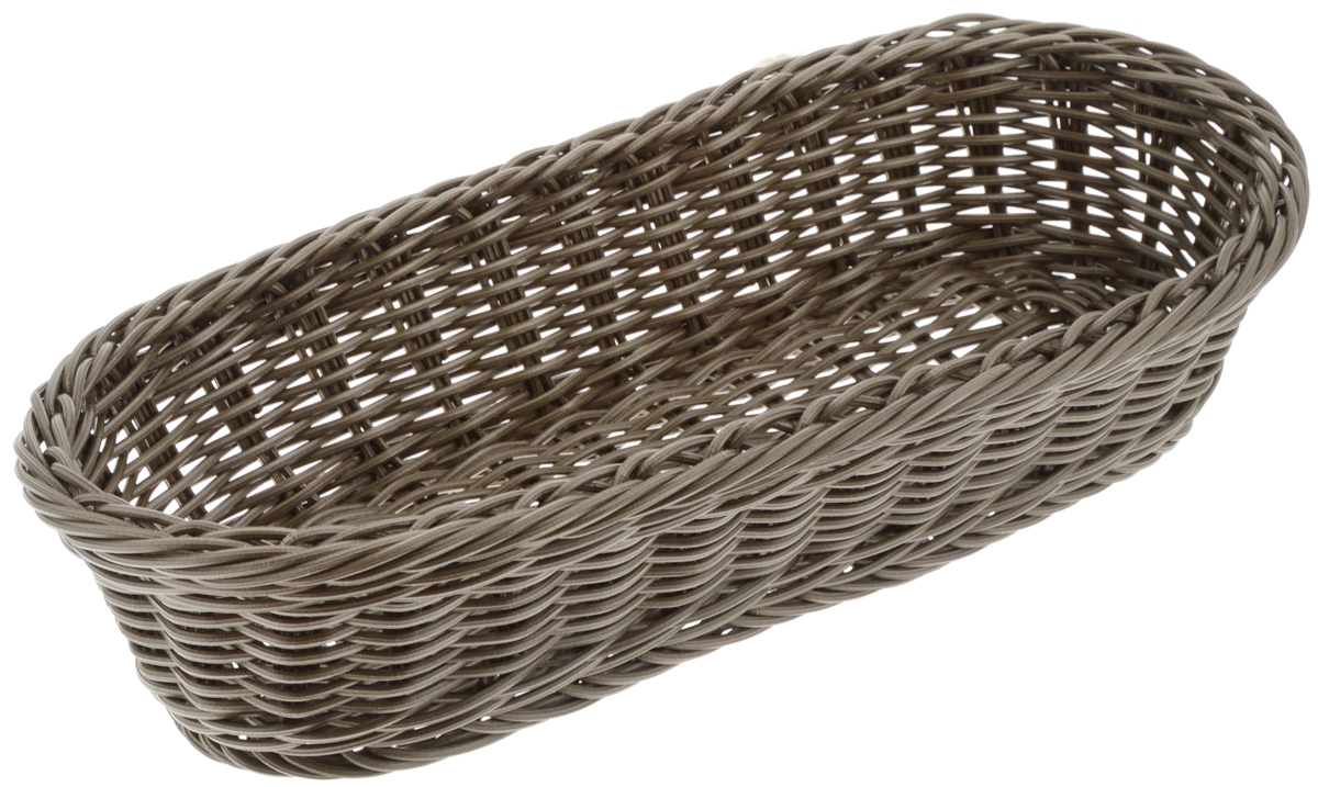 Корзинка Tescoma Flair, цвет: коричневый, 36 x 16,5 х 9см665038_коричневыйПлетеная корзинка Tescoma Flair изготовлена из устойчивого к воздействию окружающей среды искусственного волокна. Идеально подходит для хранения выпечки, конфет, фруктов, косметики, рукоделия и оформления подарков. Она не требует тщательного ухода, не впитывает запахи, не боится воды и не разрушается от перепада температур. Корзинка Tescoma Flair отлично впишется в интерьер вашего дома.Можно мыть в посудомоечной машине.