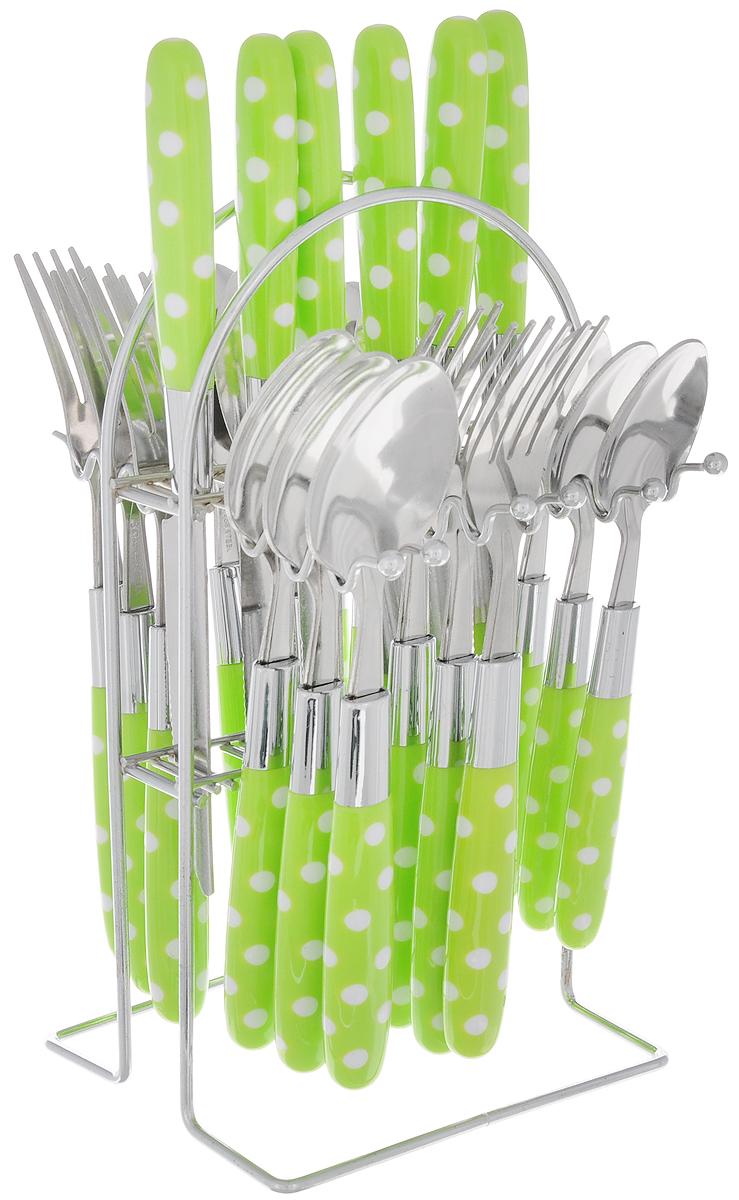 Набор столовых приборов Mayer&Boch, цвет: зеленый, белый, стальной, 25 предметов. 2249022490-3_зеленыйНабор столовых приборов Mayer & Boch включает 6 столовых ножей, 6 столовых ложек, 6 столовых вилок, 6 чайных ложек и подставку. Приборы выполнены из высококачественной нержавеющей стали и снабжены пластиковыми ручками. Прекрасное сочетание свежего дизайна и удобство использования предметов набора придется по душе каждому. Набор столовых приборов Mayer & Boch подойдет для сервировки стола как дома, так и на даче и всегда будет важной частью трапезы, а также станет замечательным подарком. Длина ножей: 21,5 см. Длина столовых ложек: 19,5 см.Длина вилок: 20 см. Длина чайных ложек: 16,5 см. Размер подставки: 12 х 12 х 24 см.