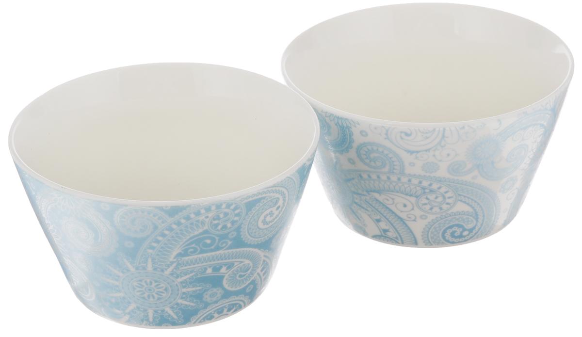 Набор салатников Elan Gallery Узор, цвет: белый, светло-бирюзовый, 2 шт. 25009
