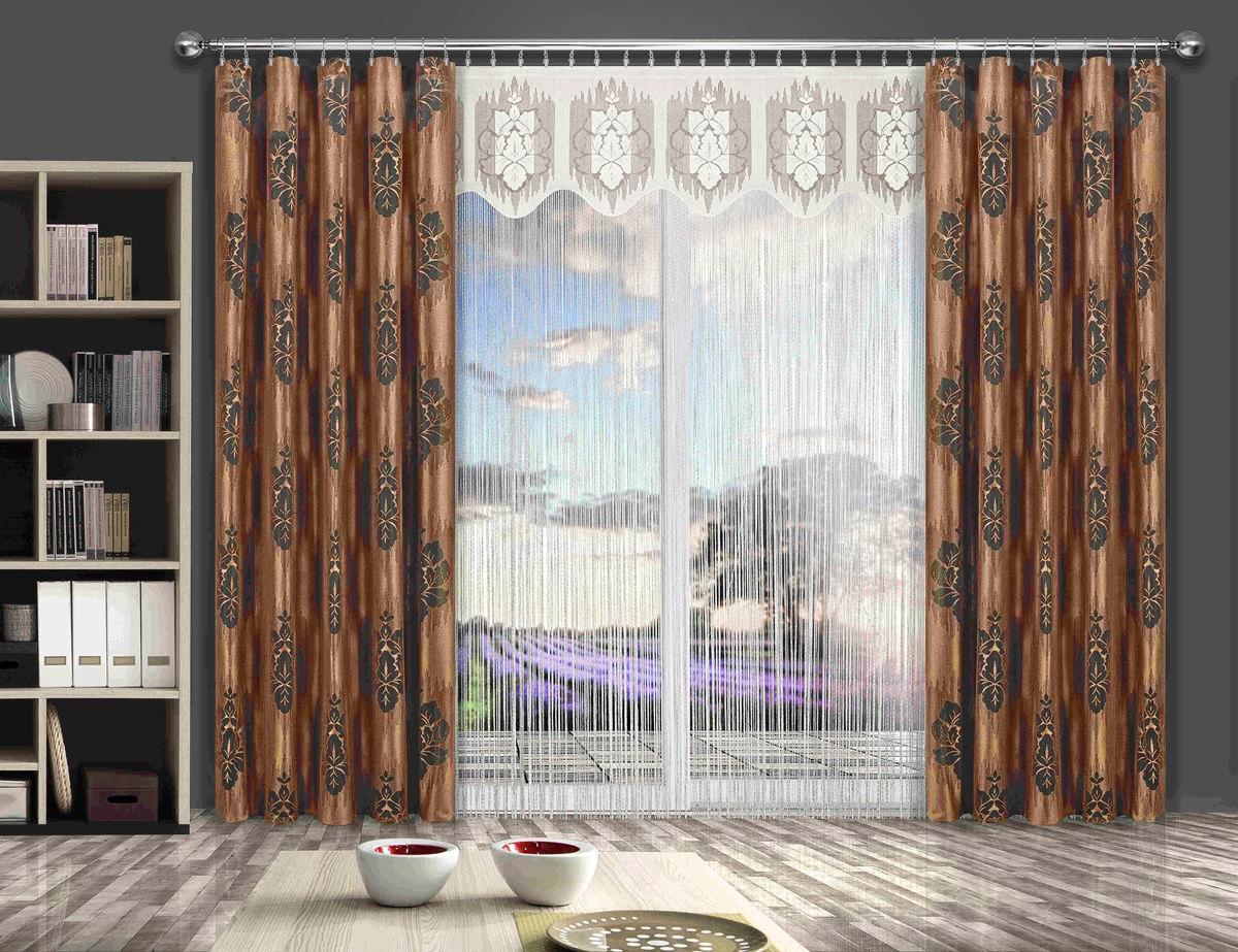 Комплект штор Wisan Liwia, на ленте, цвет: кремовый, коричневый, высота 250 см комплект штор wisan lara на ленте цвет оранжевый белый высота 250 см