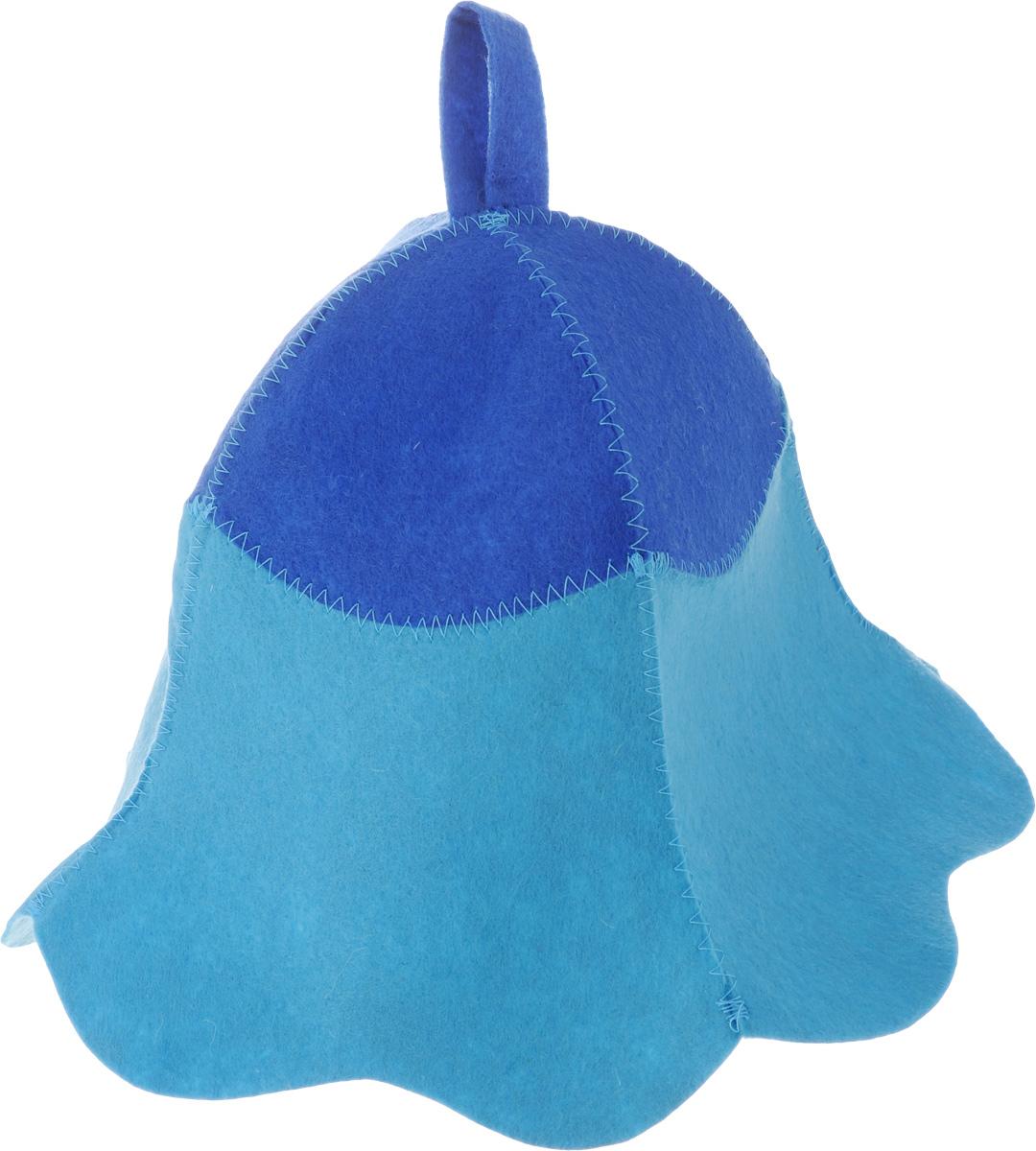 """Шапка для бани и сауны Доктор баня """"Дюймовочка"""", цвет: голубой, синий"""