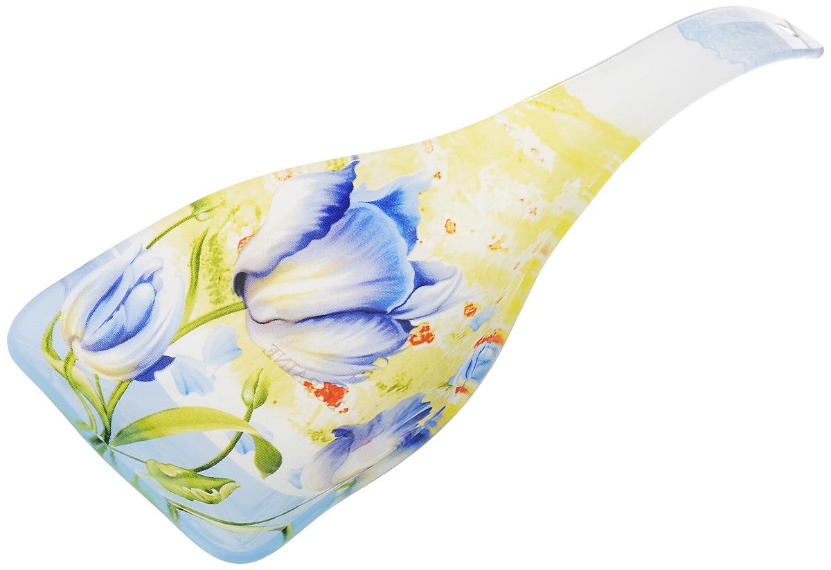 Подставка для ложки Loraine Цветы, длина 25 см23922Подставка для ложки Loraine Цветы станет не заменимым помощником на вашей кухне. Изделие, изготовленное из высококачественного стекла, предназначено для поддержания чистоты на кухонном столе при приготовлении пищи. Ложка оформлена оригинальными цветочными узорами и имеет стильный внешний вид.Поставьте ее рядом с плитой, и кладите на подставку ложку, половник или лопатку, которыми вы помешиваете блюда.Размер подставки: 25 х 9 х 3 см.