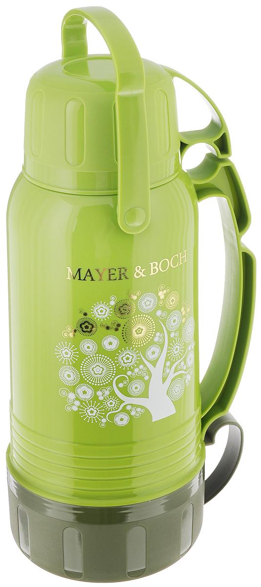 Термос Mayer & Boch, с чашами, цвет: зеленый, 1,8 л. 2370423704Термос Mayer & Boch со стеклянной колбой в полипропиленовом корпусе является одним из востребованных в России. Его температурная характеристика ни в чем не уступает термосам со стальными колбами, но благодаря свойствам стекла этот термос может быть использован для заваривания напитков с устойчивыми ароматами. Изделие оснащено двумя эргономичными ручками. В комплекте с термосом - две чаши разных размеров и дополнительный стакан. Завинчивающаяся герметичная крышка предохранит от проливаний. Температура напитков сохраняется на длительное время. Термос Mayer & Boch станет не только надежным другом в походе, но и отличным украшением вашей кухни.Высота термоса: 32 см.Диаметр основания термоса: 12,5 см.Диаметр: 5,5 см. Размер большой чашки (без учета ручки): 13,5 х 13,5 х 7 см.Размер средней чашки (без учета ручки): 10 х 10 х 7 см.Размер стакана: 9 х 9 х 5,5 см.