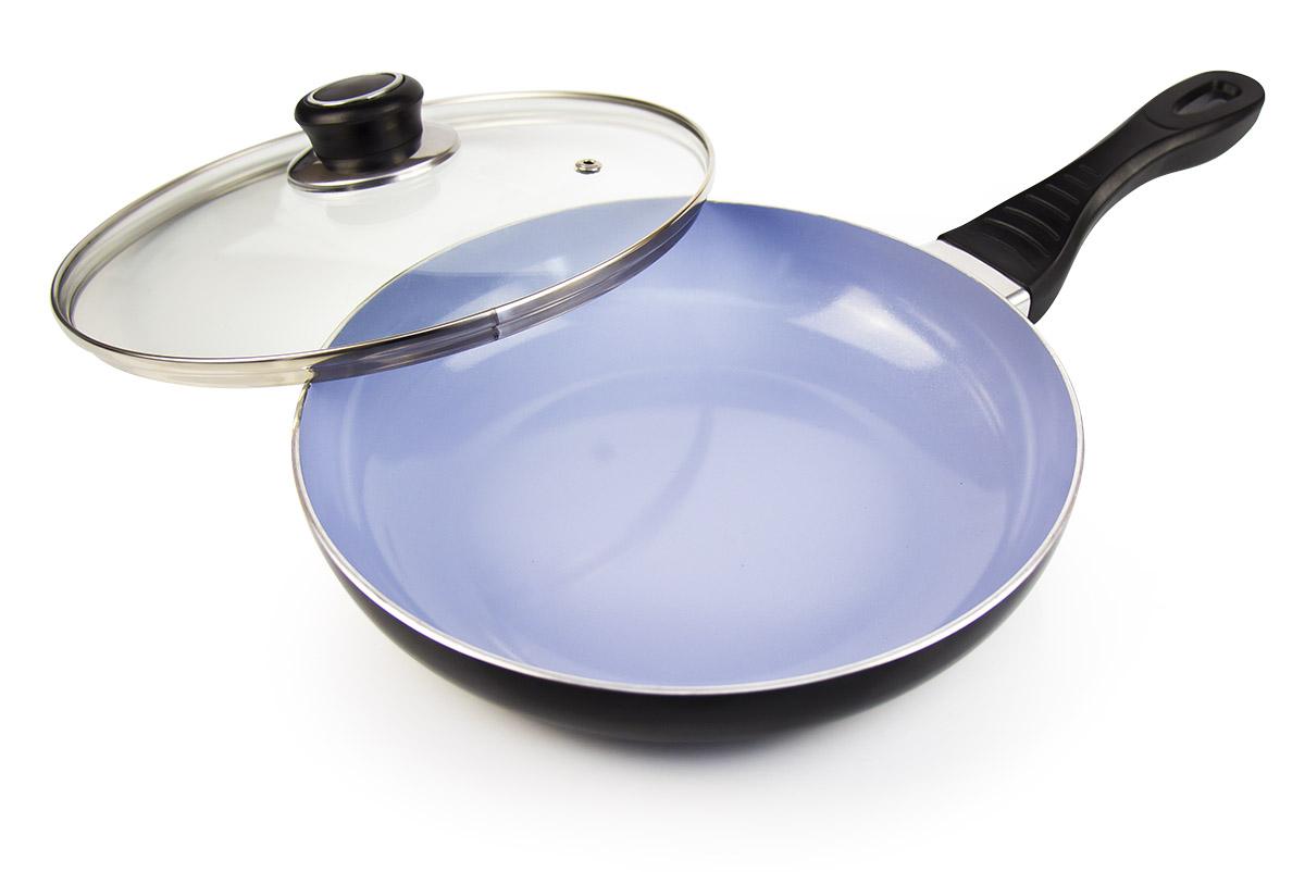 Сковорода Galaxy, с крышкой, с керамическим покрытием. Диаметр 24 см. гл9816гл9816Сковорода Galaxy выполнена из алюминия с внутренним керамическим покрытием. Изделие имеет высокую теплопроводность, во время приготовления тепло эффективно удерживается, что позволяет сокращать время приготовления продуктов. Покрытие предотвращает пригорание пищи и обеспечивает безупречное приготовление блюд. Можно готовить с минимальным количеством масла или без него.Сковорода снабжена жаростойкой стеклянной крышкой, которая позволяет контролировать процесс приготовления без потери тепла.Сковорода подходит для использования на всех типах плит. Можно мыть в посудомоечной машине. Длина ручки: 18 см.Высота стенки: 4,5 см.Диаметр индукционного диска: 16 см.