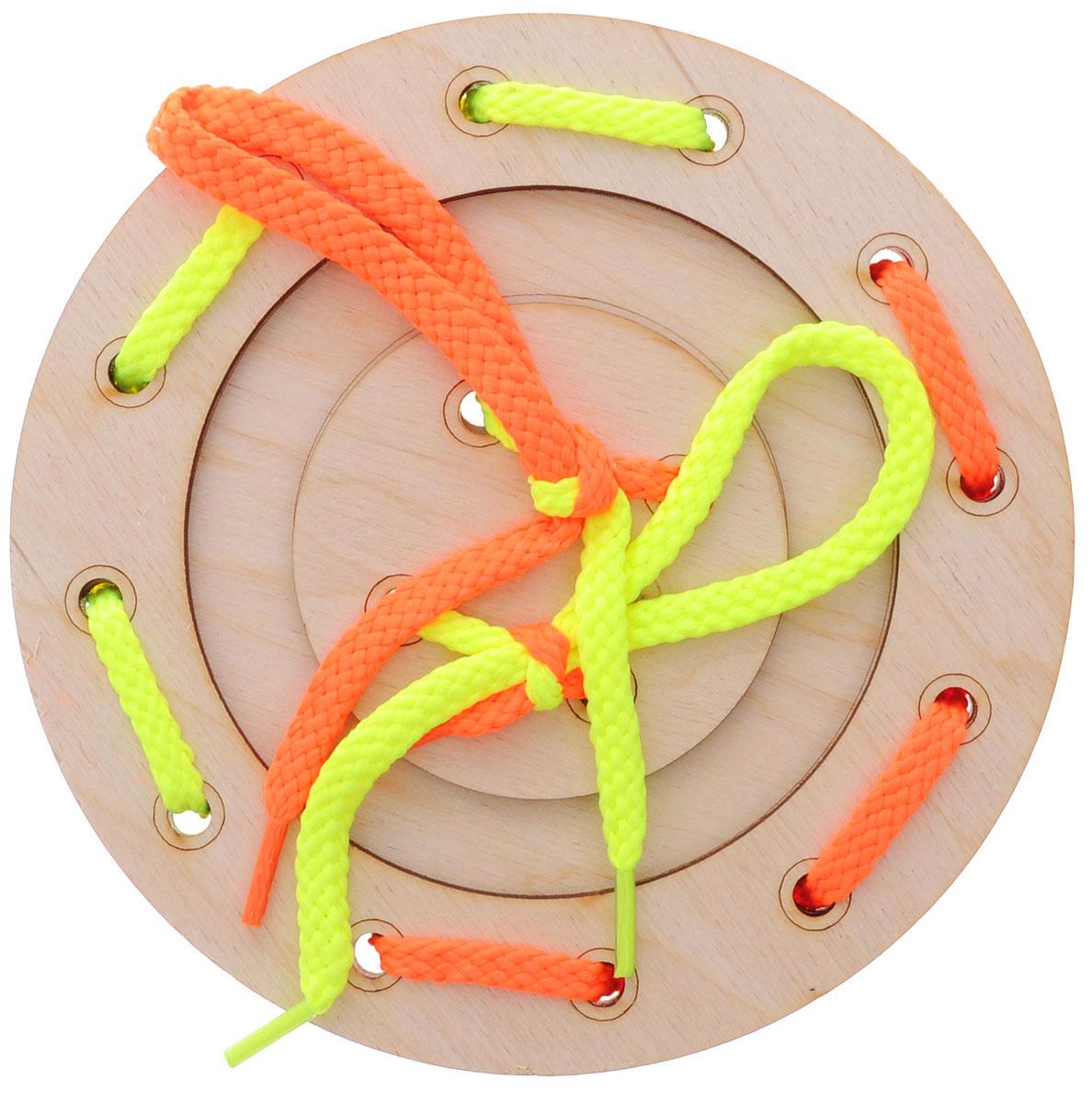 Мастер Вуд Игра-шнуровка Пуговичка цвет желтый оранжевый мастер вуд игра шнуровка пуговичка цвет синий желтый