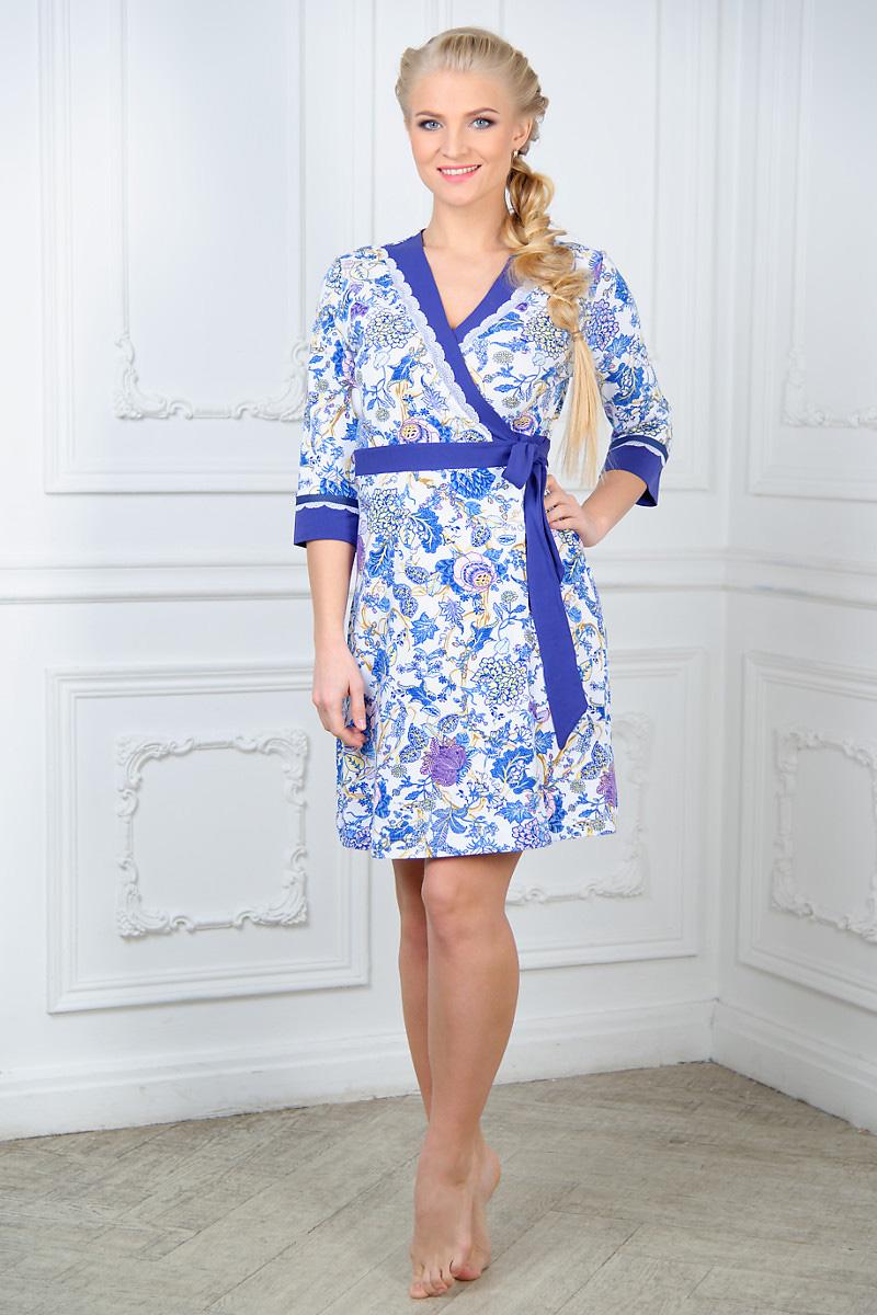 Халат женский Mia Cara, цвет: белый. AW15-UAT-LDG-287. Размер 42/44 пижама жен mia cara майка шорты botanical aw15 ubl lst 264 р 42 44 1119503