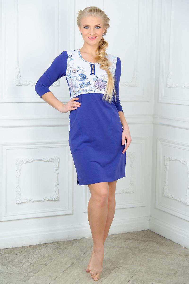 Платье Mia Cara Magic Flovers, цвет: фиолетовый, белый. AW15-UAT-LDS-283. Размер 54/56 пижама женская mia cara футболка бриджи цвет сиреневый aw15 uat lst 656 размер 46 48