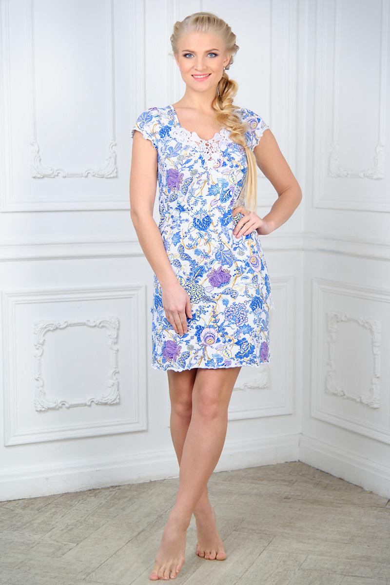 Сорочка ночная женская Mia Cara, цвет: белый, синий. AW15-UAT-LSS-285. Размер 54/56 пижама жен mia cara майка шорты botanical aw15 ubl lst 264 р 42 44 1119503