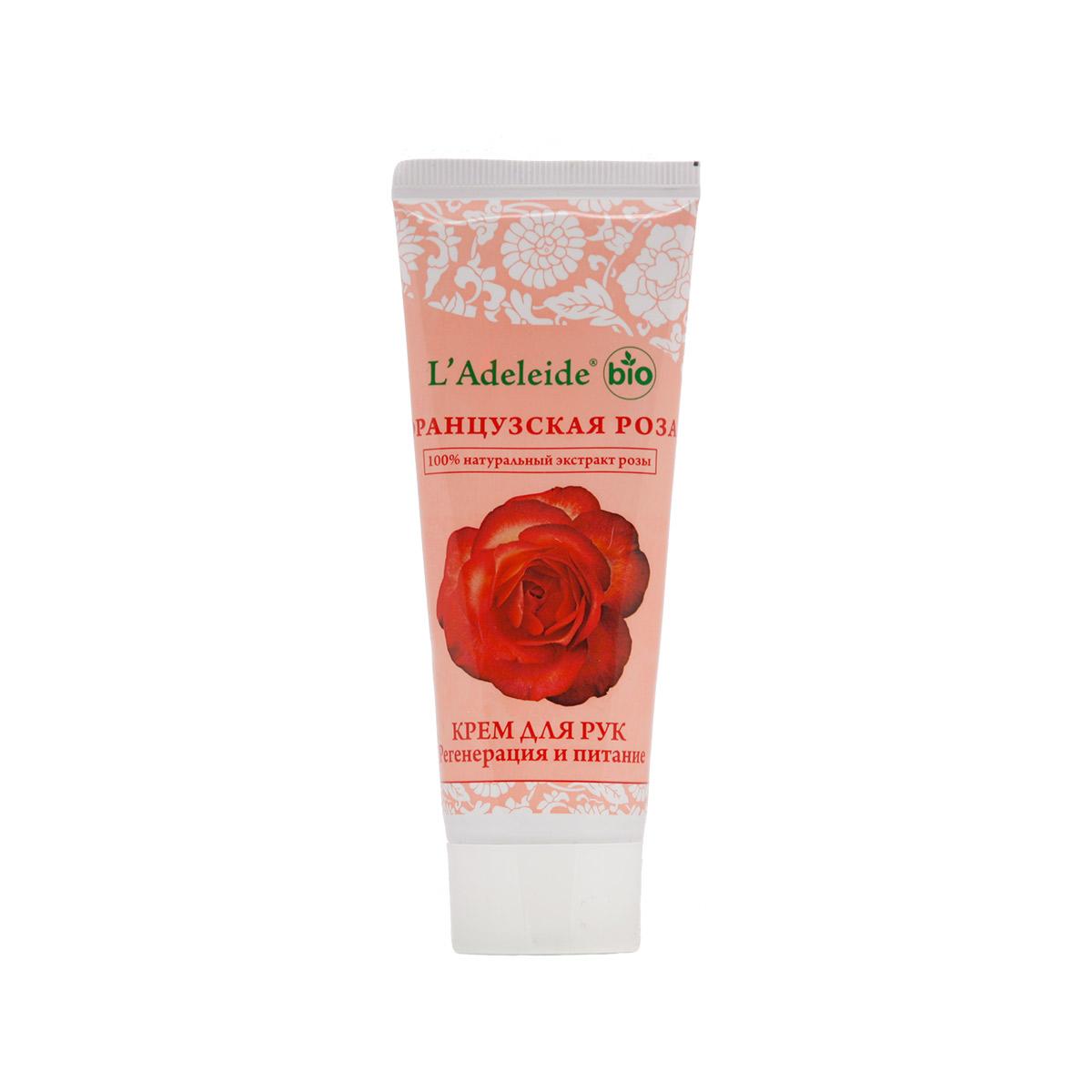 LAdeleide Крем для рук Французская роза Антивозрастной, 75 млКС-320Французская роза – это линия компании L'Adeleide на основе натурального экстракта французской розы, волшебным эффектом которого пользуются многие столетия жительницы Cредиземноморья. Французская роза известна своим регенерирующим и омолаживающим эффектом. Благодаря последним технологиям, L'Adeleide смог передать сильный эффект экстракта. Косметический крем Французская роза с экстрактом розы и мочевиной. При регулярном применении крем устраняет сухость, успокаивает, питает и увлажняет кожу рук.