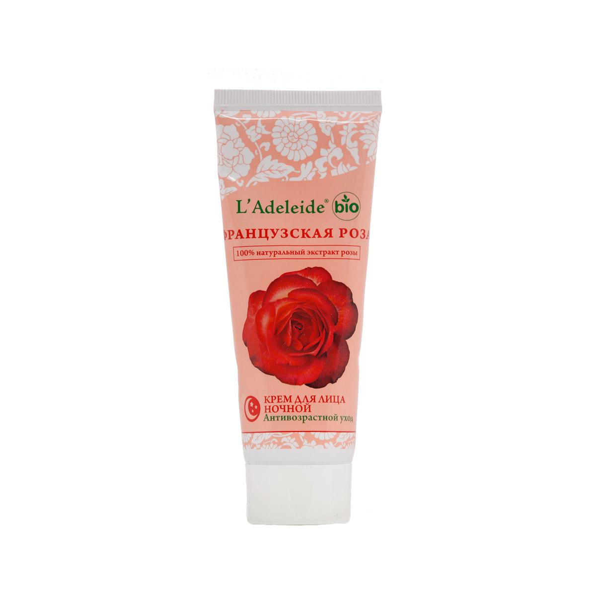 LAdeleide Крем для лица ночной Французская роза Антивозрастной, 75 млКС-329Французская роза – это линия компании L'Adeleide на основе натурального экстракта французской розы, волшебным эффектом которого пользуются многие столетия жительницы Cредиземноморья. Французская роза известна своим регенерирующим и омолаживающим эффектом. Благодаря последним технологиям, L'Adeleide смог передать сильный эффект экстракта.Косметический крем для лица Французская роза легко впитывается, устраняет все признаки уставшей кожи: успокаивает, увлажняет и питает. Сбалансированная формула крема содержит дистиллят розы и важнейшие витамины F и E. Крем способствует поддержанию эластичности и упругости кожи. В составе - комплекс Hydrovance, который обеспечивает тотальное увлажнение кожи за счет своего проникновения даже в самые глубокие слои эпидермиса. Hydrovance уменьшает раздражения и воспаления сухой кожи и повышает эластичность. Применение крема стимулирует клеточную регенерацию, препятствует возникновению морщин, способствует разглаживанию мелких морщин, повышает защитные свойства кожи, выравнивает цвет, нормализует активность сальных желез.