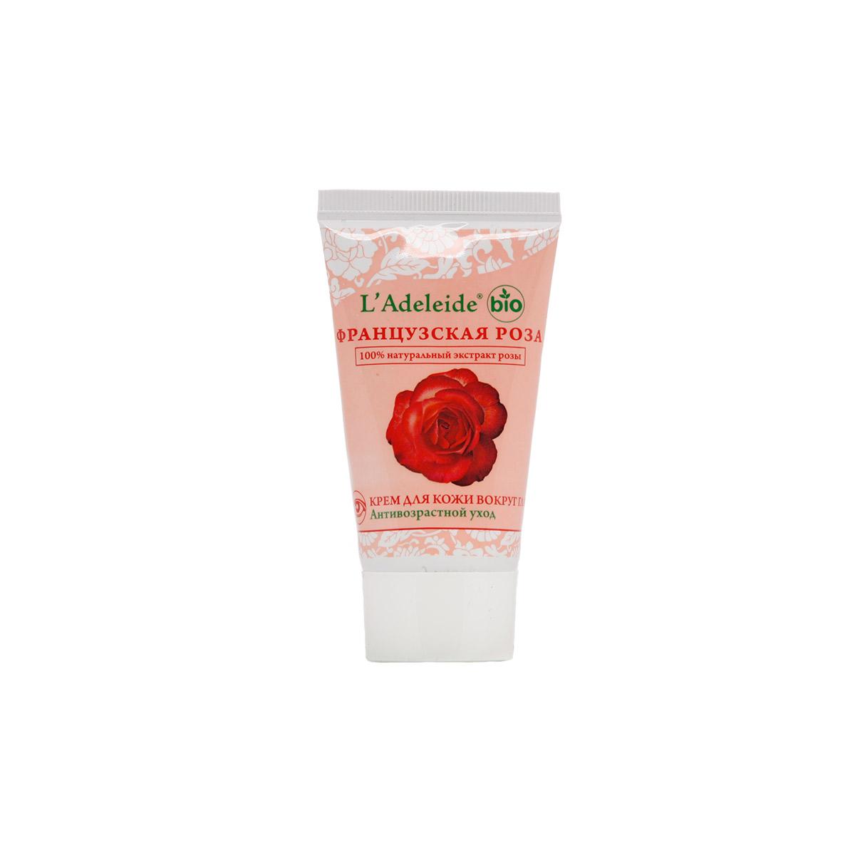 LAdeleide Крем для кожи вокруг глаз Французская роза Антивозрастной, 50 млКС-331Французская роза – это линия компании L'Adeleide на основе натурального экстракта французской розы, волшебным эффектом которого пользуются многие столетия жительницы Cредиземноморья. Французская роза известна своим регенерирующим и омолаживающим эффектом. Благодаря последним технологиям, L'Adeleide смог передать сильный эффект экстракта розы. Кожа вокруг глаз – самая тонкая и чувствительная кожа лица. Поэтому L'Adeleide подготовил особый уход для этой зоны. Крем для кожи вокруг глаз Французская роза содержит повышенную концентрацию активных веществ, интенсивно питает благодаря экстракту розы и экстракту ромашки. За увлажнение отвечает натуральный комплекс Аквадерм.