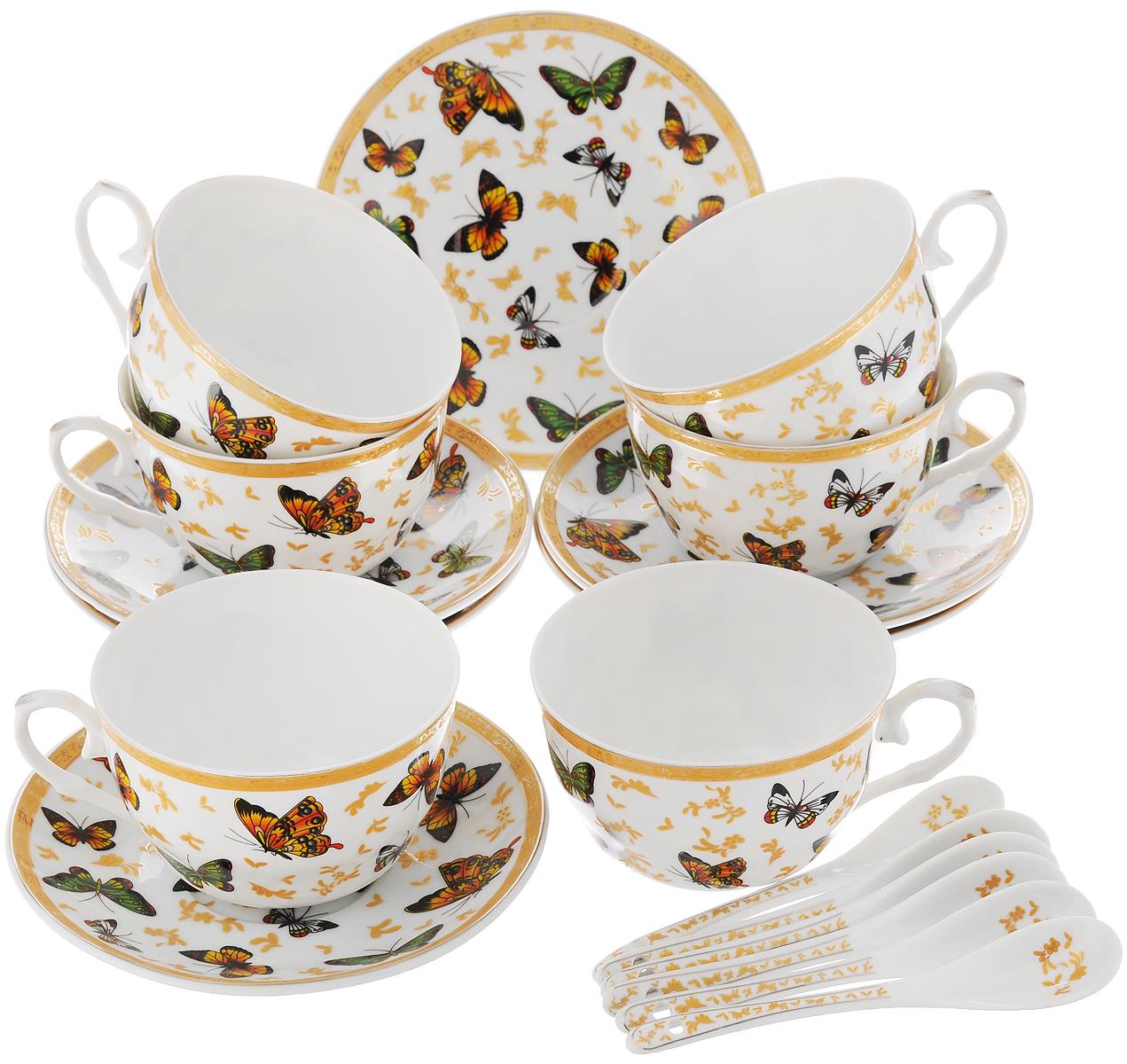 Набор чайный Elan Gallery Бабочки, с ложками, 18 предметов730476Чайный набор Elan Gallery Бабочки состоит из 6 чашек, 6 блюдец и 6 ложечек,изготовленных из высококачественной керамики. Предметы набора декорированы изображениембабочек и узоров.Чайный набор Elan Gallery Бабочки украсит ваш кухонный стол, а такжестанет замечательным подарком друзьям и близким.Изделие упаковано в подарочную коробку с атласной подложкой. Не рекомендуется применять абразивные моющие средства. Не использовать в микроволновой печи.Объем чашки: 250 мл.Диаметр чашки по верхнему краю: 9,5 см.Высота чашки: 6 см.Диаметр блюдца: 14 см.Длина ложки: 12,5 см.