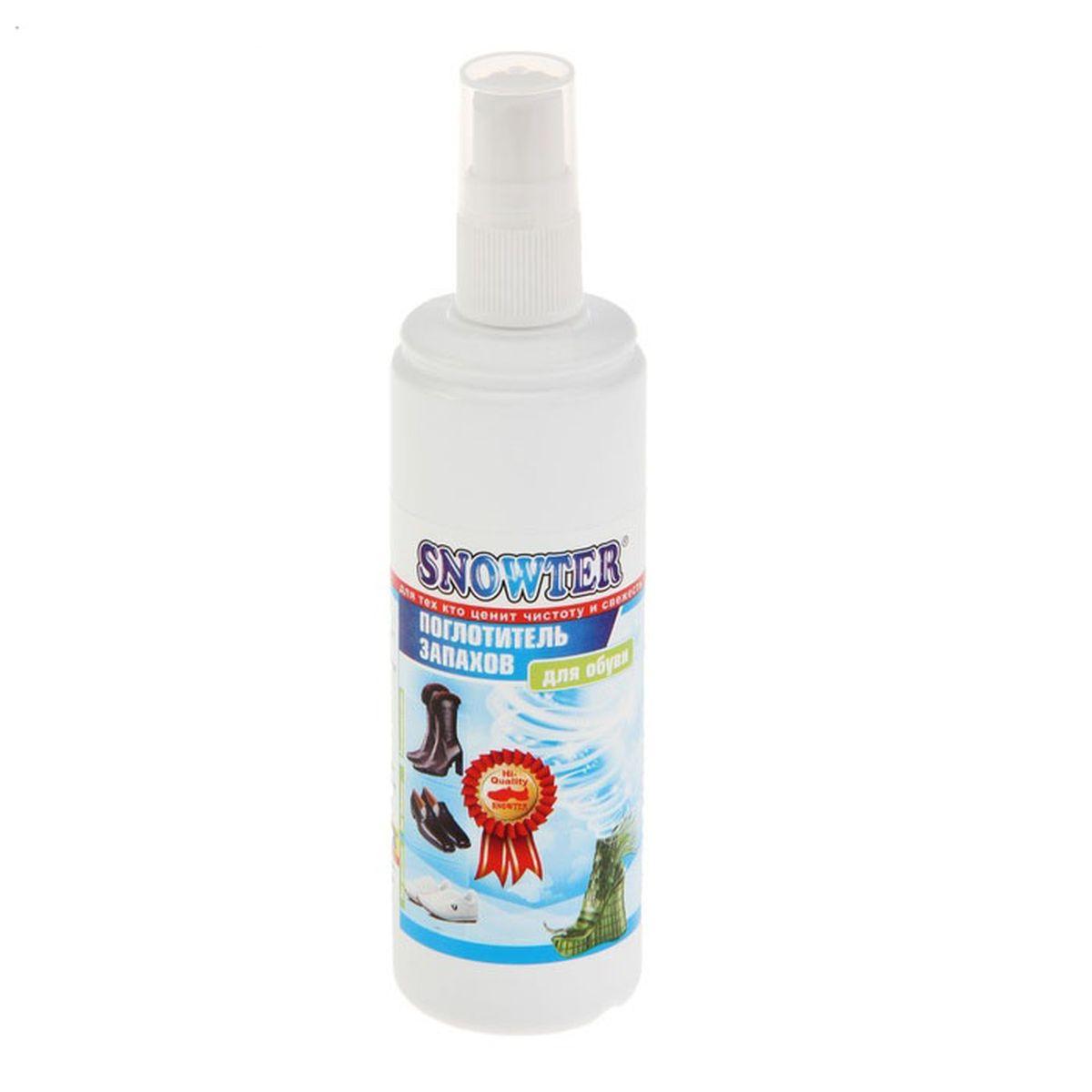 Поглотитель запахов для обуви Snowter, спрей, 100 мл4602083001491Предназначен для обработки обуви от неприятных запахов. Спрей содержит в своей основе вещество, молекулы которого разрушают ароматические молекулы запаха. Это очень эффективное средство, которое, в отличие от ароматизаторов воздуха, не маскирует неприятный запах, а уничтожает сам источник неприятного запаха. Особенно это актуально для спортивной и зимней обуви. В состав спрея введены дополнительные ароматические, антибактериальные и антисептические компоненты. Эффект сохраняется в течение 3-4 дней после обработки.