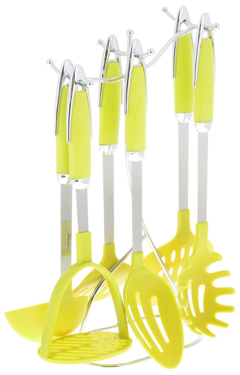 Набор кухонных принадлежностей Mayer & Boch, на подставке, цвет: салатовый, 7 предметов. 2122721227Набор Mayer & Boch состоит из картофелемялки, ложки для спагетти, шумовки, ложки с прорезями, половника, лопатки с прорезями и подставки. Предметы набора хранятся в элегантной металлической подставке. Ручки изделий, выполненные из полипропилена, оснащены отверстием для подвешивания на крючок. Рабочие поверхности предметов набора изготовлены из нейлона. Аксессуары для кухни выполнены из высококачественной нержавеющей стали. Изделия из нержавеющей стали исключительно прочны, гигиеничны, не подвержены коррозии и химически устойчивы по отношению к органическим кислотам, солям и щелочам. Данный набор придаст вашей кухне элегантность, подчеркнет индивидуальный дизайн и превратит приготовление еды в настоящее удовольствие.Размер подставки: 17 х 10 х 36,5 см.Длина половника: 30 см.Размер рабочей поверхности половника: 9 х 9 см.Длина шумовки: 37 см.Размер рабочей поверхности шумовки: 11,5 х 11,5 см.Длина ложки с прорезями: 34 см.Размер рабочей поверхности ложки: 10,5 х 6,5 см.Длина лопатки с прорезями: 34 см.Размер рабочей поверхности лопатки с прорезями: 9,5 х 7,5 см.Длина картофелемялки: 29,5 см.Размер рабочей поверхности картофелемялки: 10 х 7,5 см.Длина ложки для спагетти: 35 см.Размер рабочей поверхности ложки: 10 х 7 см.