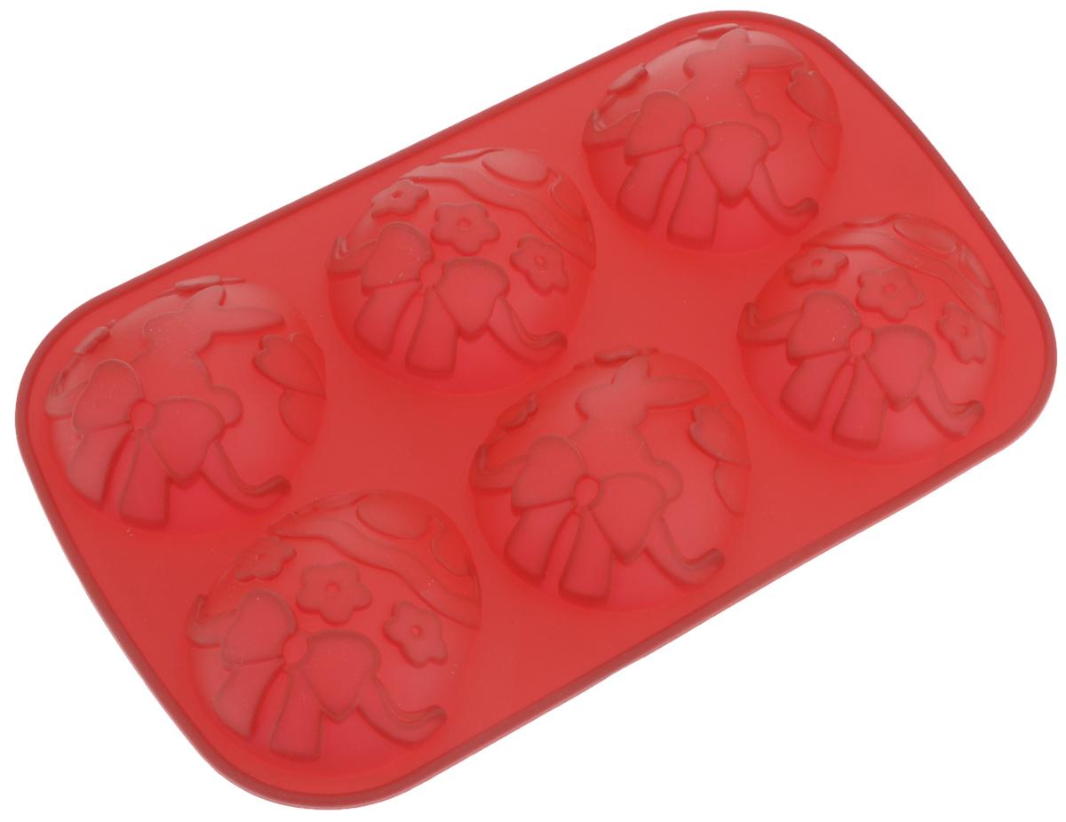 Форма для выпечки Tescoma Delicia Silicone, цвет: красный, 6 ячеек. 629346 форма для выпечки tescoma delicia kids бабочка силиконовая 13 х 11 5 х 3 5 см