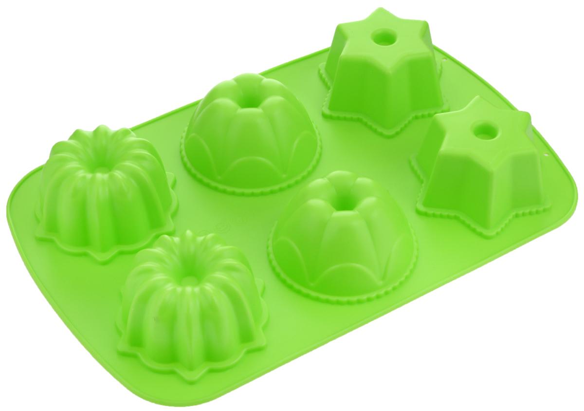 Форма для выпечки Mayer & Boch, силиконовая, цвет: зеленый, 6 ячеек. 2463624636_зеленыйФорма для выпечки Mayer & Boch изготовлена из высококачественного силикона. Стенки формы легко гнутся, что позволяет легко достать готовую выпечку и сохранить аккуратный внешний вид блюда. Форма имеет 6 ячеек в виде различных фигурок.Силикон - материал, который выдерживает температуру от -40°С до +230°С. Изделия из силикона очень удобны в использовании: пища в них не пригорает и не прилипает к стенкам, форма легко моется. Приготовленное блюдо можно очень просто вытащить, просто перевернув форму, при этом внешний вид блюда не нарушится. Изделие обладает эластичными свойствами: складывается без изломов, восстанавливает свою первоначальную форму. Порадуйте своих родных и близких любимой выпечкой в необычном исполнении. Подходит для приготовления в микроволновой печи и духовом шкафу при нагревании до +230°С; для замораживания до -40°. Можно мыть в посудомоечной машине. Средний размер ячейки: 8 х 8 х 4,5 см. Как выбрать форму для выпечки – статья на OZON Гид.