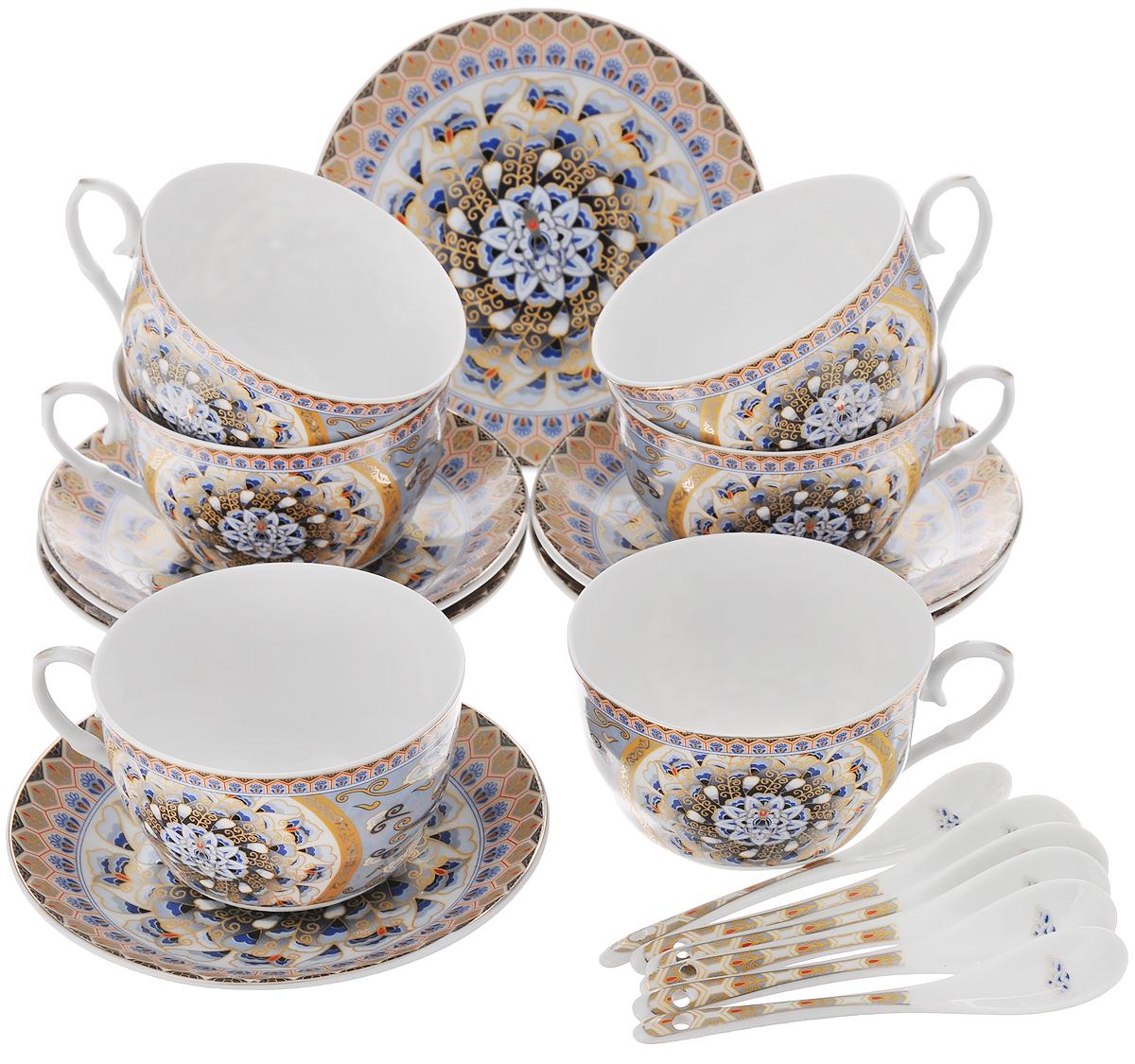 Набор чайный Elan Gallery Калейдоскоп, с ложками, 18 предметов730485Чайный набор Elan Gallery Калейдоскоп состоит из 6 чашек, 6 блюдец и 6 ложечек,изготовленных из высококачественной керамики. Предметы набора декорированы изысканным узором.Чайный набор Elan Gallery Калейдоскоп украсит ваш кухонный стол, а такжестанет замечательным подарком друзьям и близким.Изделие упаковано в подарочную коробку с атласной подложкой. Не рекомендуется применять абразивные моющие средства. Не использовать в микроволновой печи.Объем чашки: 250 мл.Диаметр чашки по верхнему краю: 9,5 см.Высота чашки: 6 см.Диаметр блюдца: 14 см.Длина ложки: 12,5 см.
