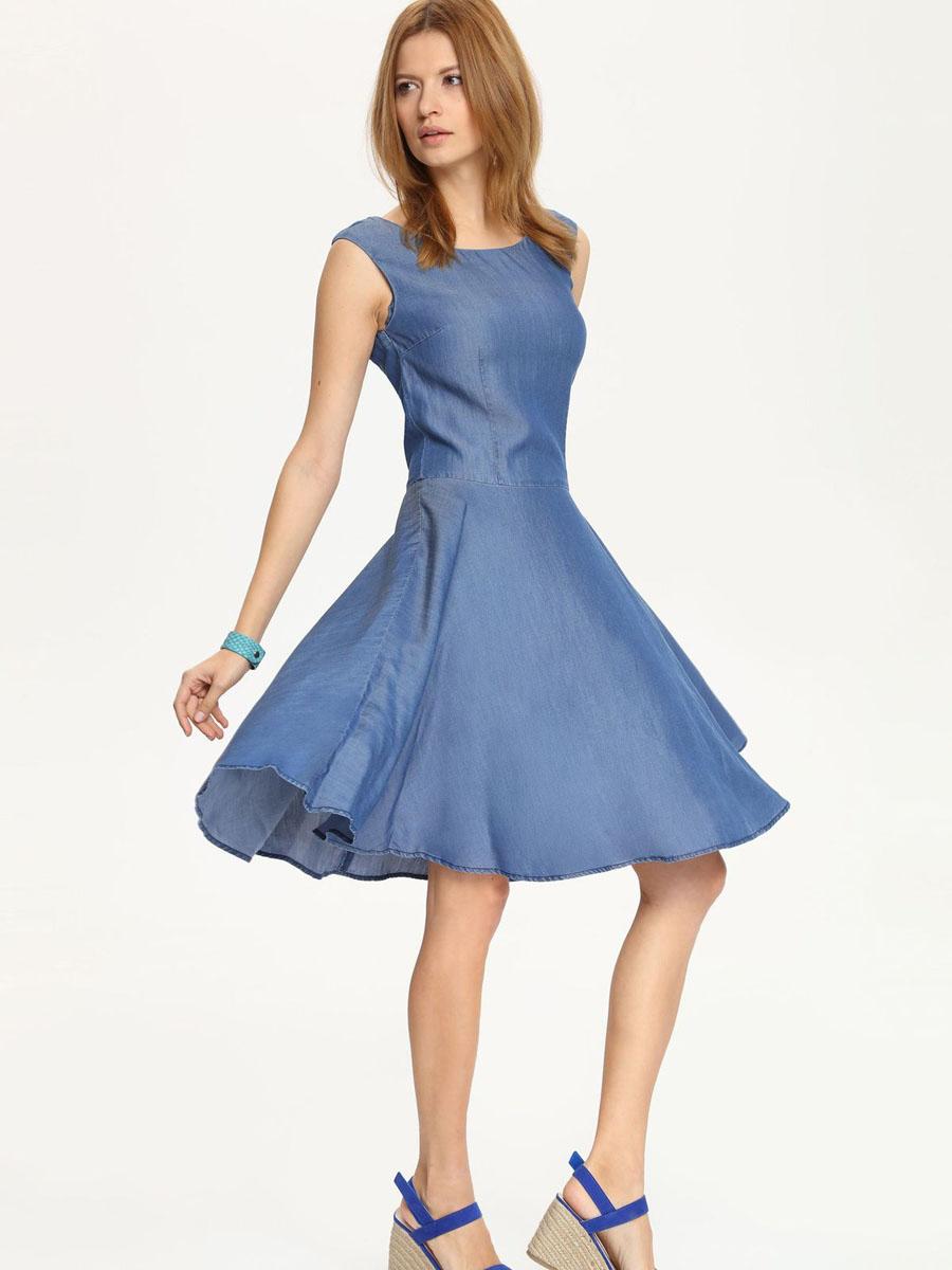Платье Top Secret, цвет: синий джинс. SSU1508NI. Размер 36 (42)SSU1508NIПлатье Top Secret поможет создать яркий и стильный образ. Платье, изготовленное из лиоцелла, легкое, тактильно приятное, хорошо вентилируется.Платье с круглым вырезом горловины и юбкой-солнцем застегивается сзади на скрытую молнию.Такое платье непременно украсит ваш гардероб и добавит образу женственности.