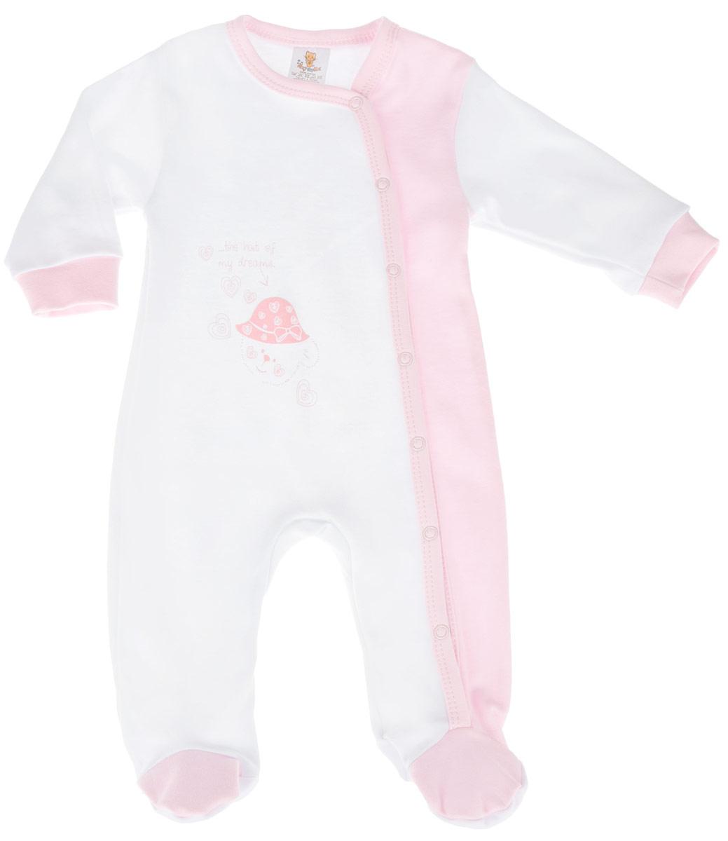 Комбинезон детский КотМарКот Мишка в шляпе, цвет: белый, светло-розовый. 3675. Размер 68, 3-6 месяца