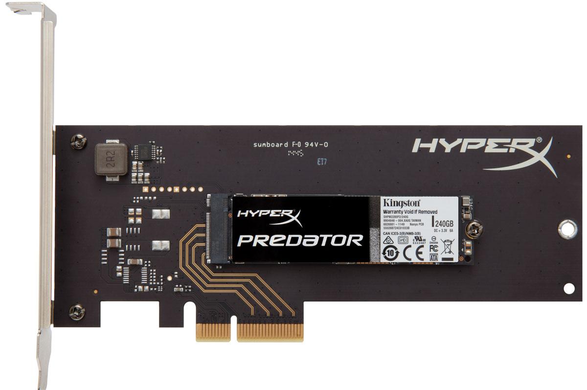 Kingston HyperX Predator 240 GB SSD-накопительSHPM2280P2H/240GТвердотельные накопители Kingston HyperX Predator отличаются большой емкостью и невероятной скоростью работы со сжимаемыми и несжимаемыми данными, что позволят эффективно модернизировать ваш ПК. Работая быстрее твердотельных накопителей с интерфейсом SATA (скорость считывания - до 1400 Мб/с, скорость записи - до 1000 Мб/с), они обеспечивают высокую скорость работы в многозадачном режиме и более высокую производительность в целом. Интерфейс PCIe Gen 2.0 x4 гарантирует высокую производительность, а форм-фактор M.2 подходит для компьютеров нового поколения с разъемом M.2 PCIe. Твердотельные накопители HyperX Predator SSD имеют трехлетнюю гарантию и бесплатную техническую поддержку - специально для победителей.Контроллер: Marvell 88SS9293Вибрация при работе: 2,17 G (пиковая) (7-800 Гц)Вибрация при простое: 20 G (пиковая) при частоте (10-2000 Гц)Ожидаемый срок службы: 1 млн часов (средняя наработка на отказ)Максимальная скорость чтения/записи случайных блоков 4 Кб: до 120 000/до 78 000 IOPSРейтинг PCMARK Vantage HDD Suite: 138000