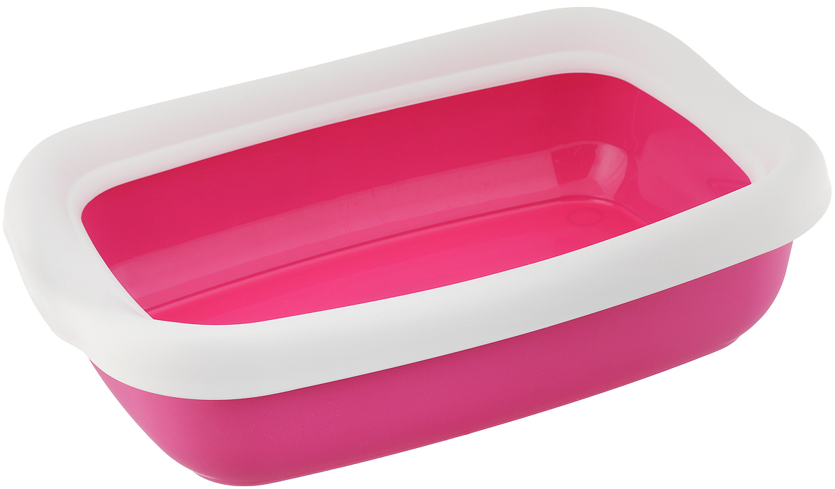 Туалет для кошек MPS Beta, с бортом, цвет: розовый, белый, 43 х 31 х 12,5 см mps mps hydra mini туалет лоток 43х31х12h см с рамкой