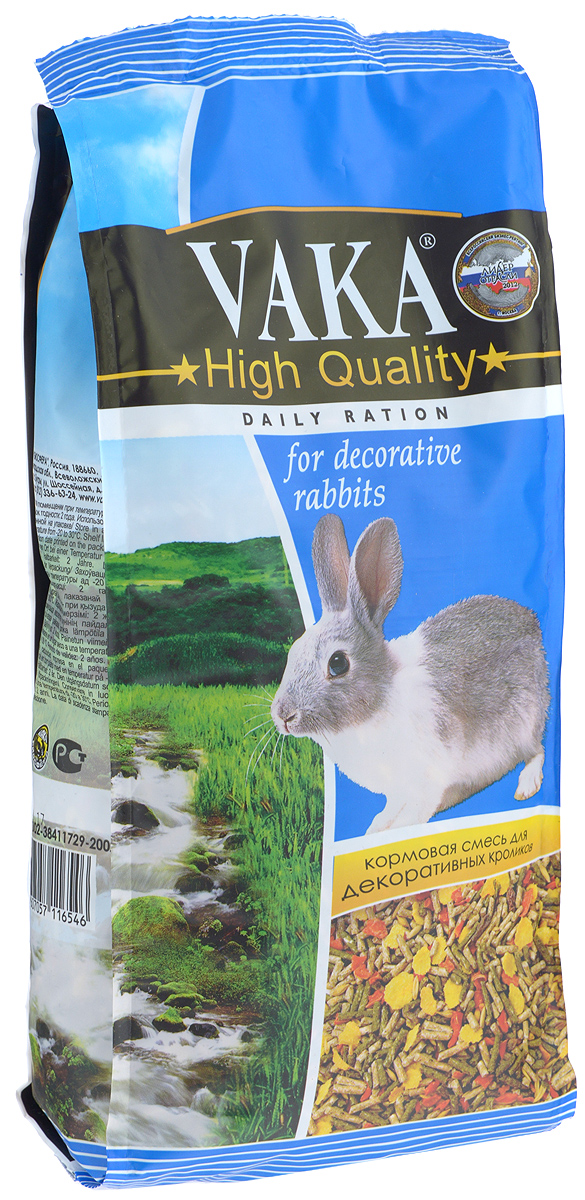 Корм сухой Вака High Quality для декоративных кроликов, 1 кг82298Вака High Quality - это многокомпонентный комплексный корм, специально предназначенный для кормления декоративных кроликов. Корм разработан ведущими диетологами и специалистами по содержанию и разведению этих животных и включает в себя все необходимые витамины и микроэлементы. Содержащиеся в корме компоненты обеспечат вашему любимцу долгую жизнь, хороший иммунитет, здоровое потомство и радующую вас красивую шубку.Содержащиеся в корме зерновые хлопья, наряду с пробиотиком улучшат усвоение корма, нормализуют пищеварение, повысят иммунитет. Травяные гранулы принесут вашему любимцу всю пользу свежескошенных трав. Сушеные овощи и фрукты заставят питомца зажмуриться от удовольствия и обогатят организм витаминами.Состав: травяные гранулы (злаковые культуры, клевер, вика, люцерна), комбикорм гранулированный (отруби пшеничные, льняное семя, костная мука, соль йодированная, дрожжи пивные и хлебные, витаминный комплекс), ячмень, овес, пшеница, зерновые хлопья, пробиотик, сухие фрукты и овощи, семя аниса.Содержание витаминов на кг корма: А 4500 ме, С 40 мг, D3 330 ме, Е 25 мг, В 4,5 мг, В2 3 мг, В6 4,8 мг, биотин 0,1 мг.